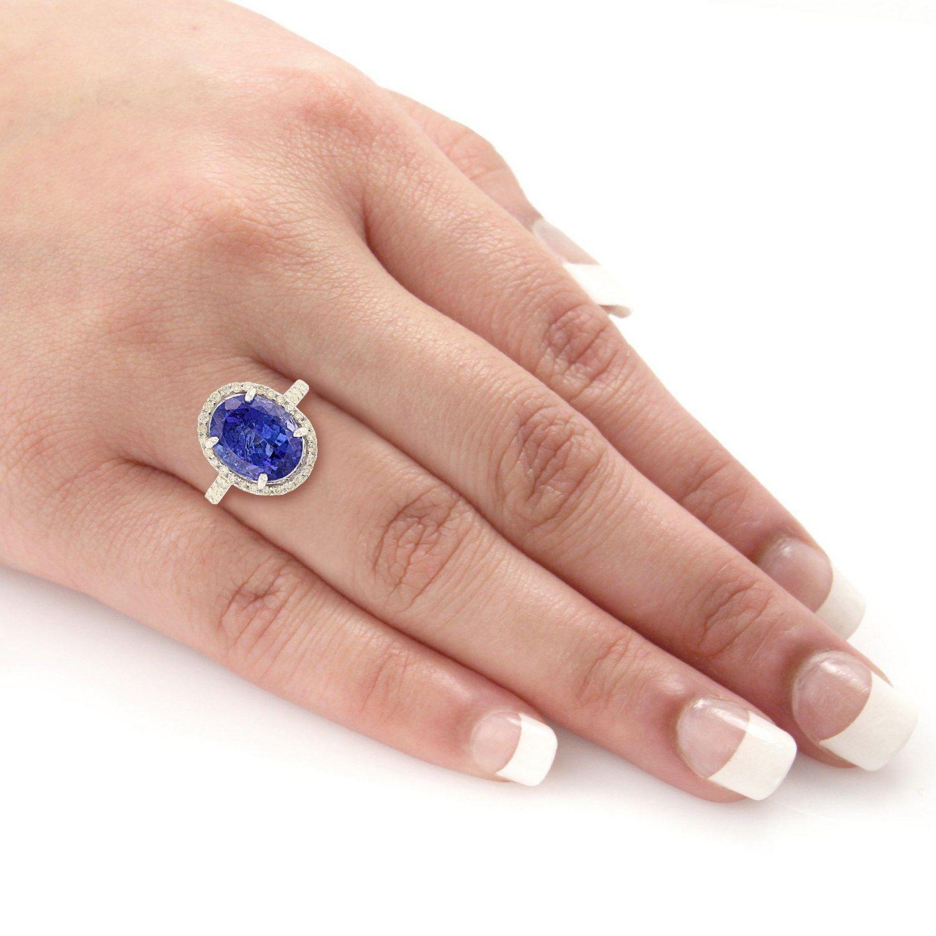 6.93ct DARK Tanzanite and 0.67ctw Diamond 14KT White Gold Ring