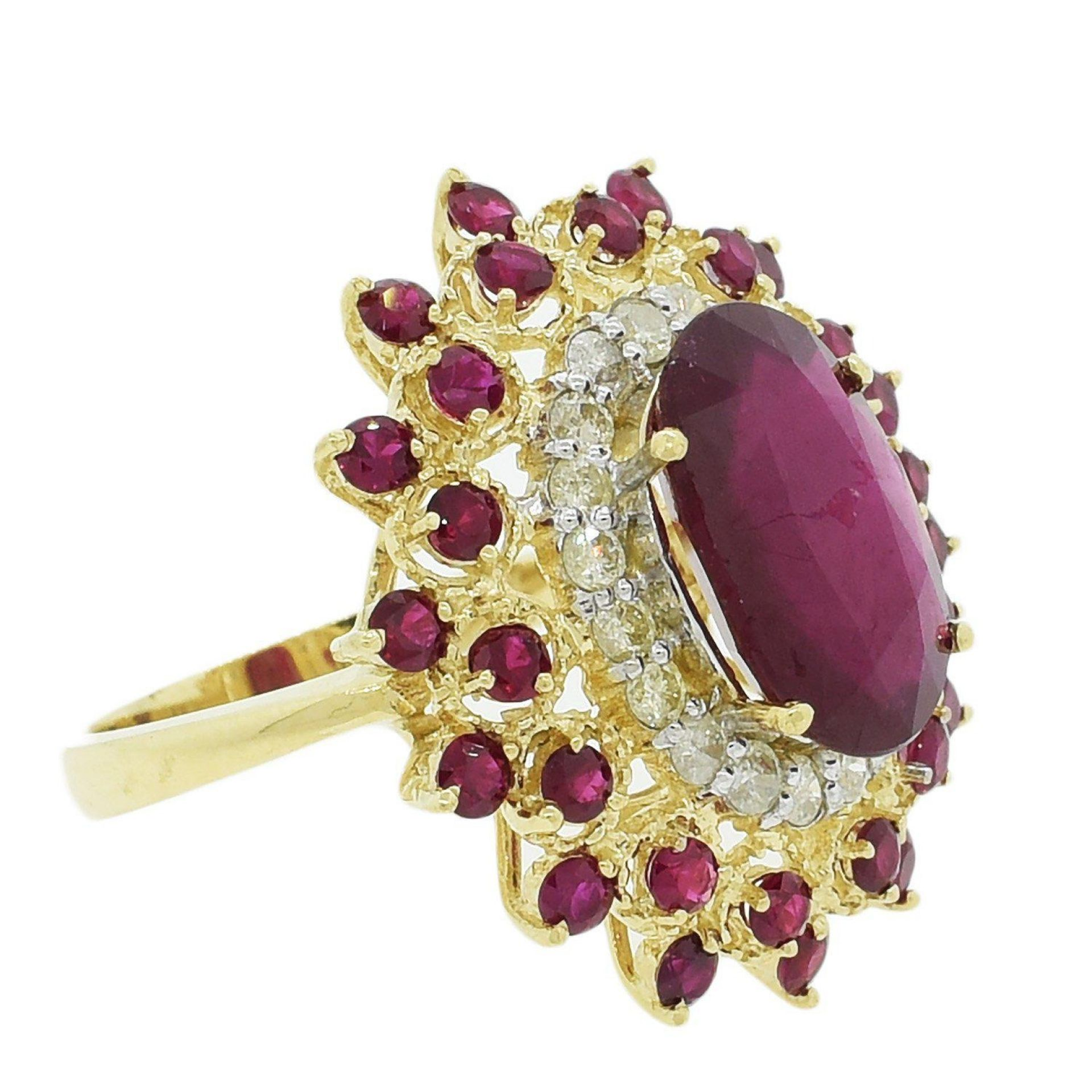8.86ctw Ruby and 0.80ctw Diamond 14KT Yellow Gold Ring