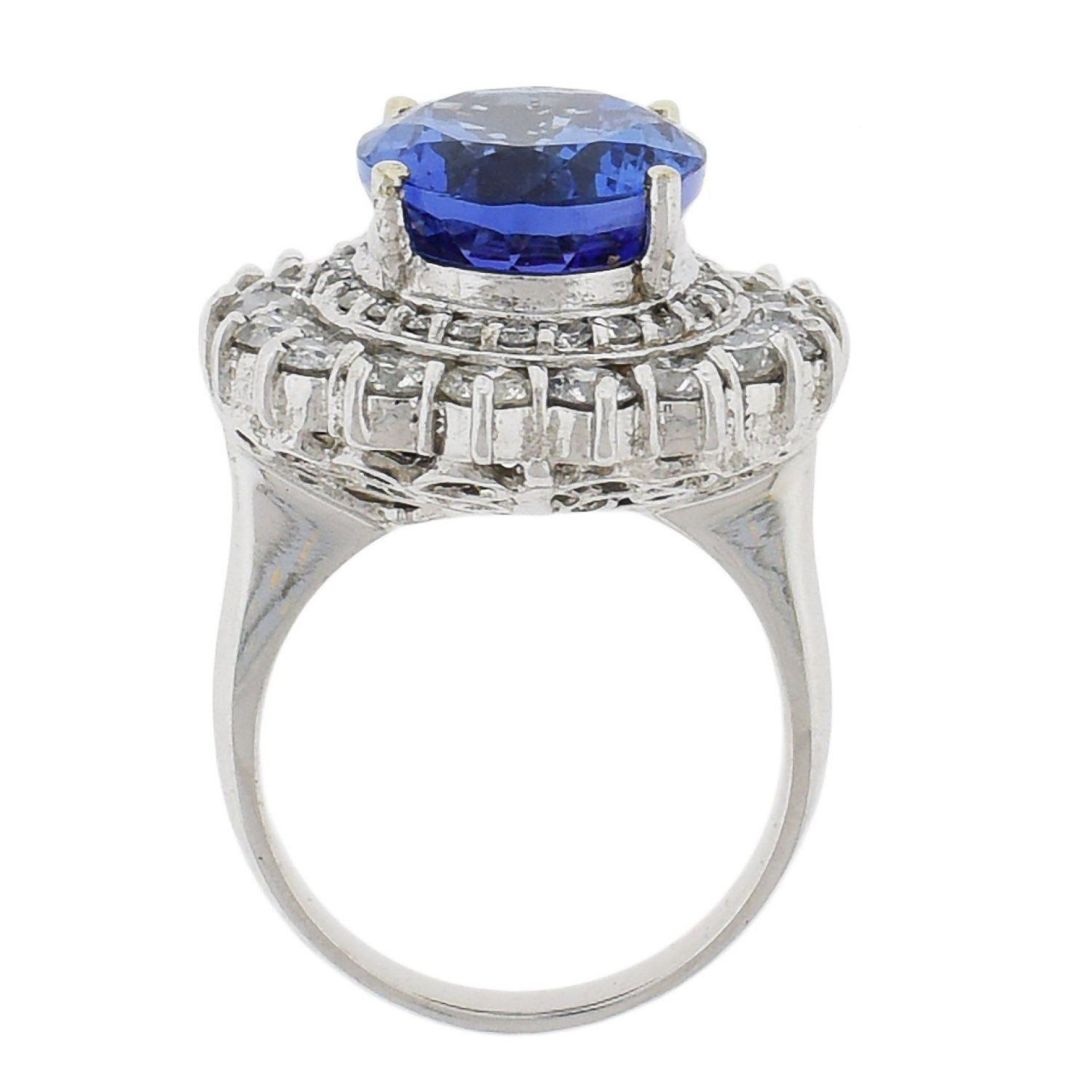 8.84ct Tanzanite and 2.39ctw Diamond 14KT White Gold Ring (GIA CERTIFIED)