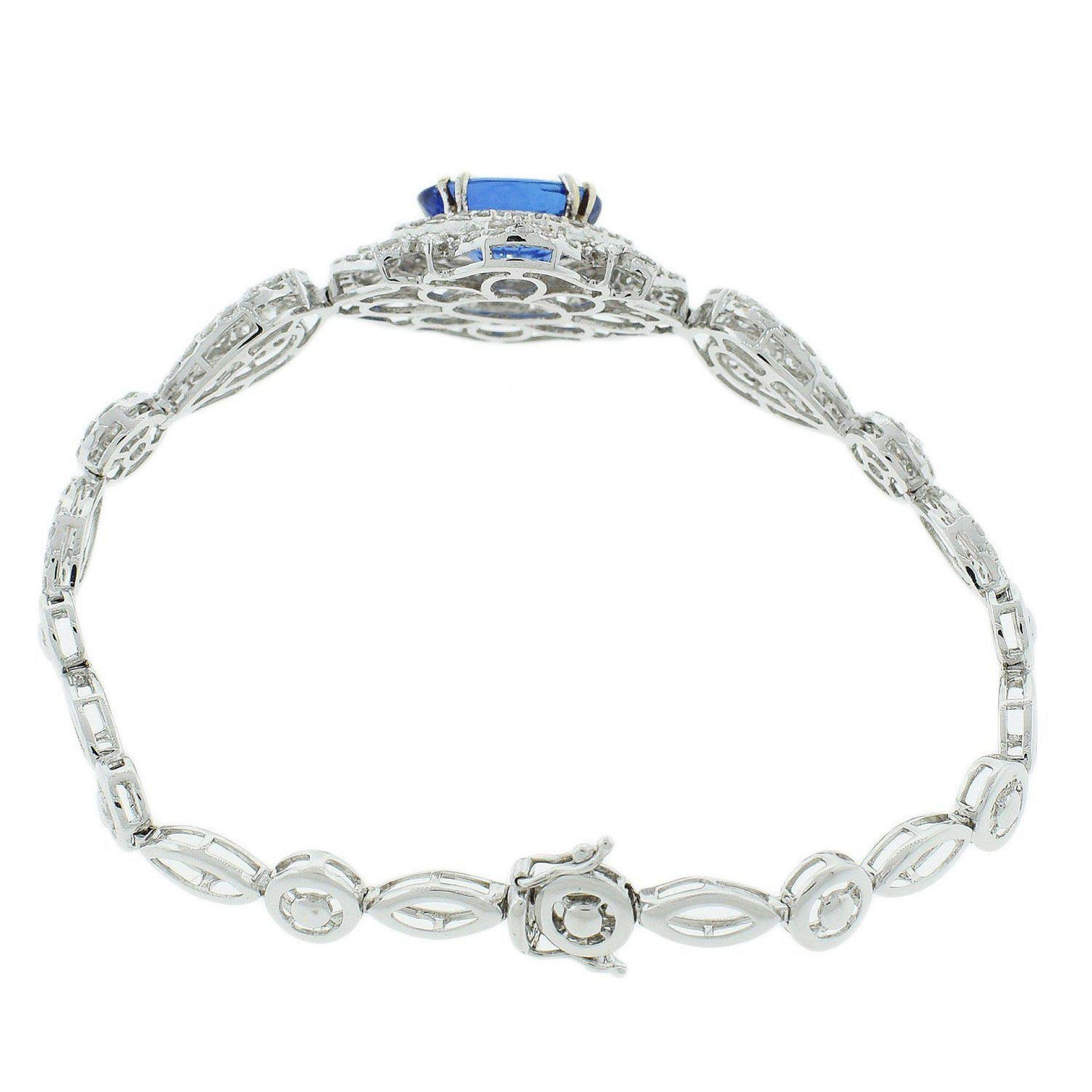 5.83ct Tanzanite and 4.02ctw Diamond 18KT White Gold Bracelet