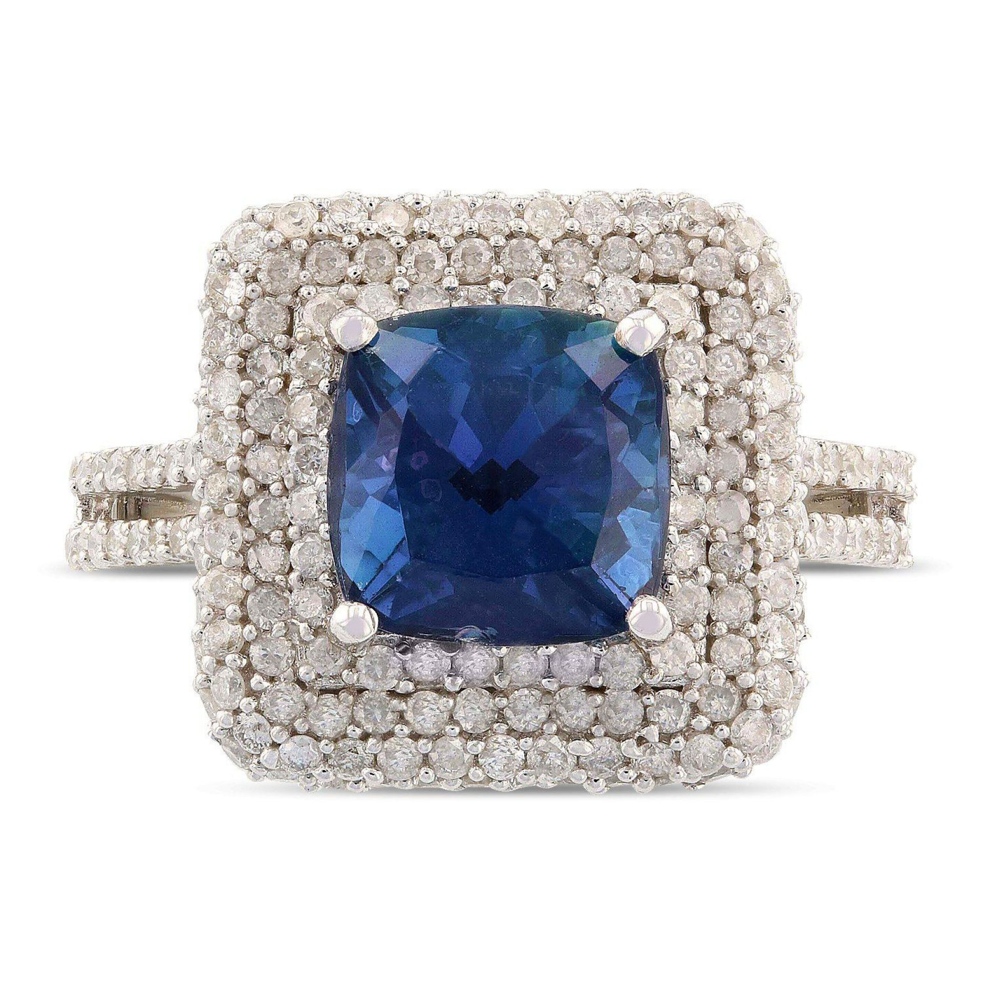 2.81ct Cobalt Coated Tanzanite and 1.31ctw Diamond 14KT White Gold Ring