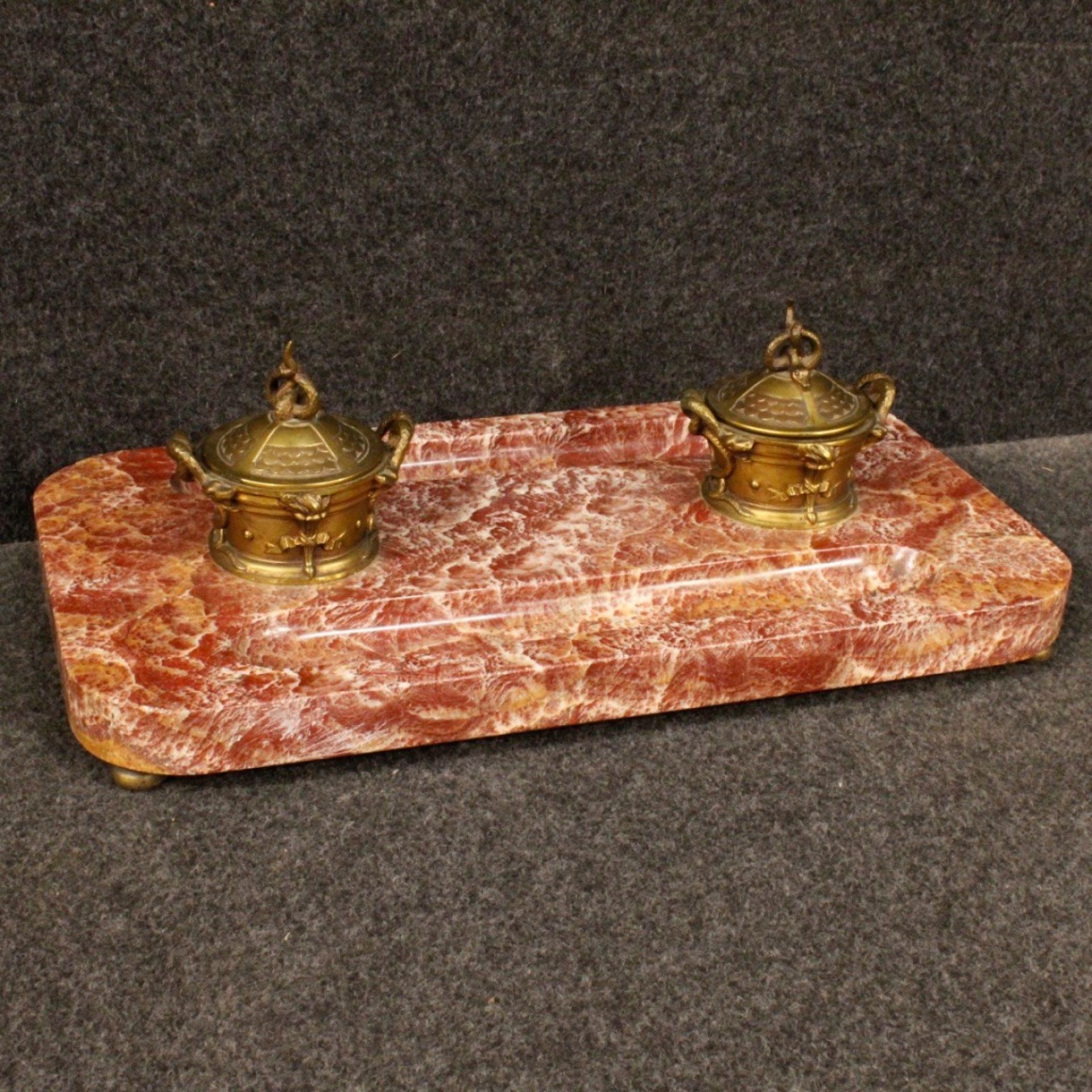 20th Century Marble, Bronze And Brass French Inkwell, 1930