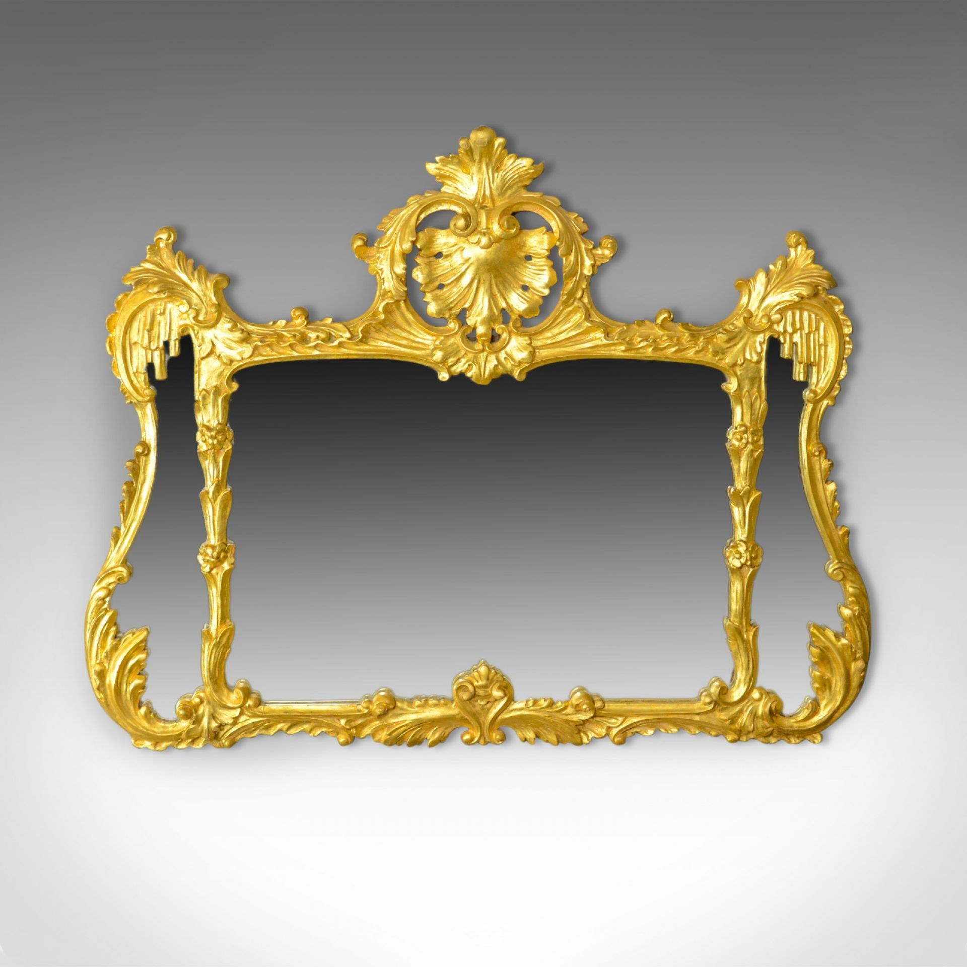 Antique Overmantel Mirror, English, Giltwood, Wall, Triptych, Circa 1920