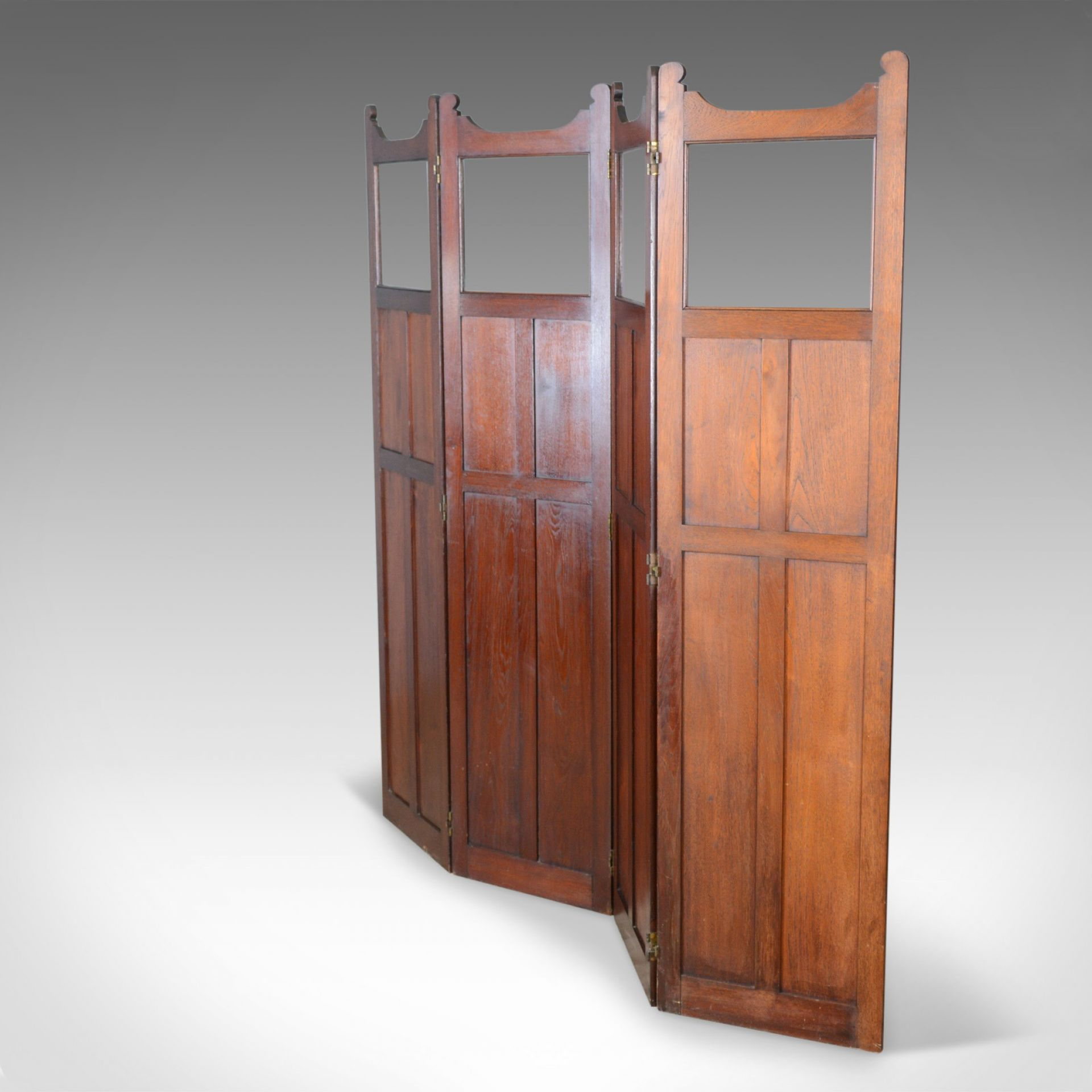 Antique Folding Screen, Edwardian, Four Panel, Walnut Room Divider, Circa 1910