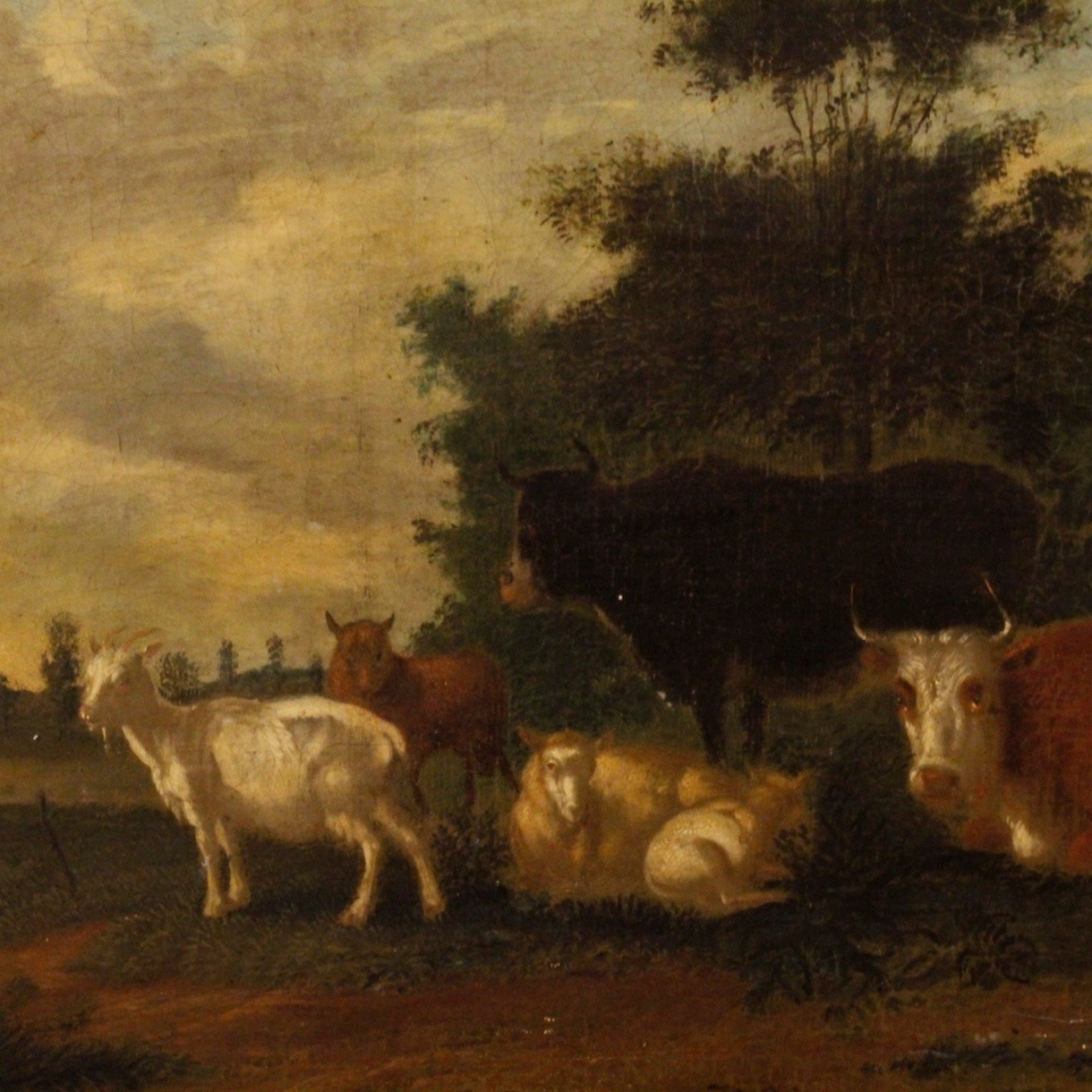 19th Century Oil On Canvas Antique Dutch Landscape With Animals Painting, 1870