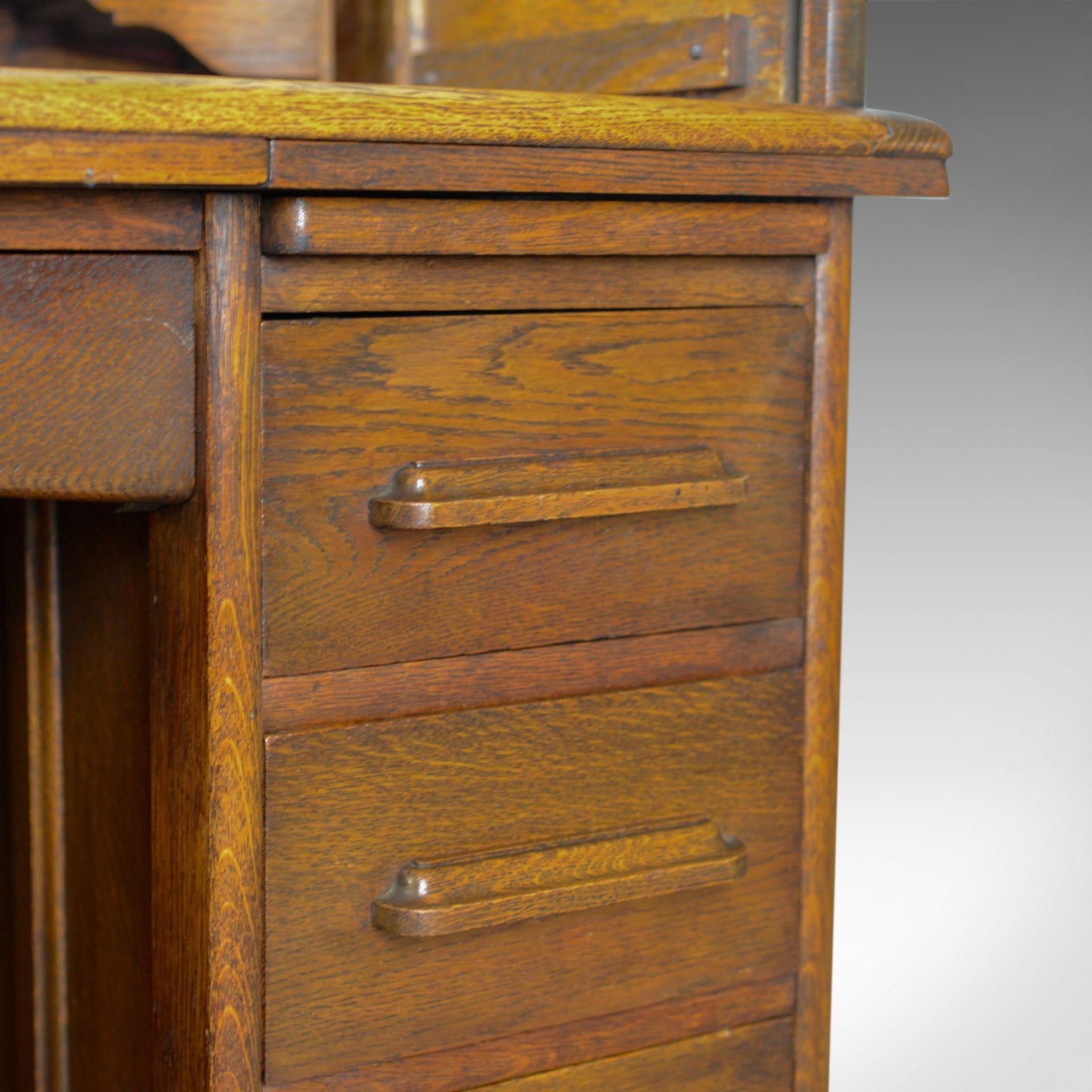 Small Antique Roll Top Desk, Oak, Tambour, William Angus and Co Ltd London c1910