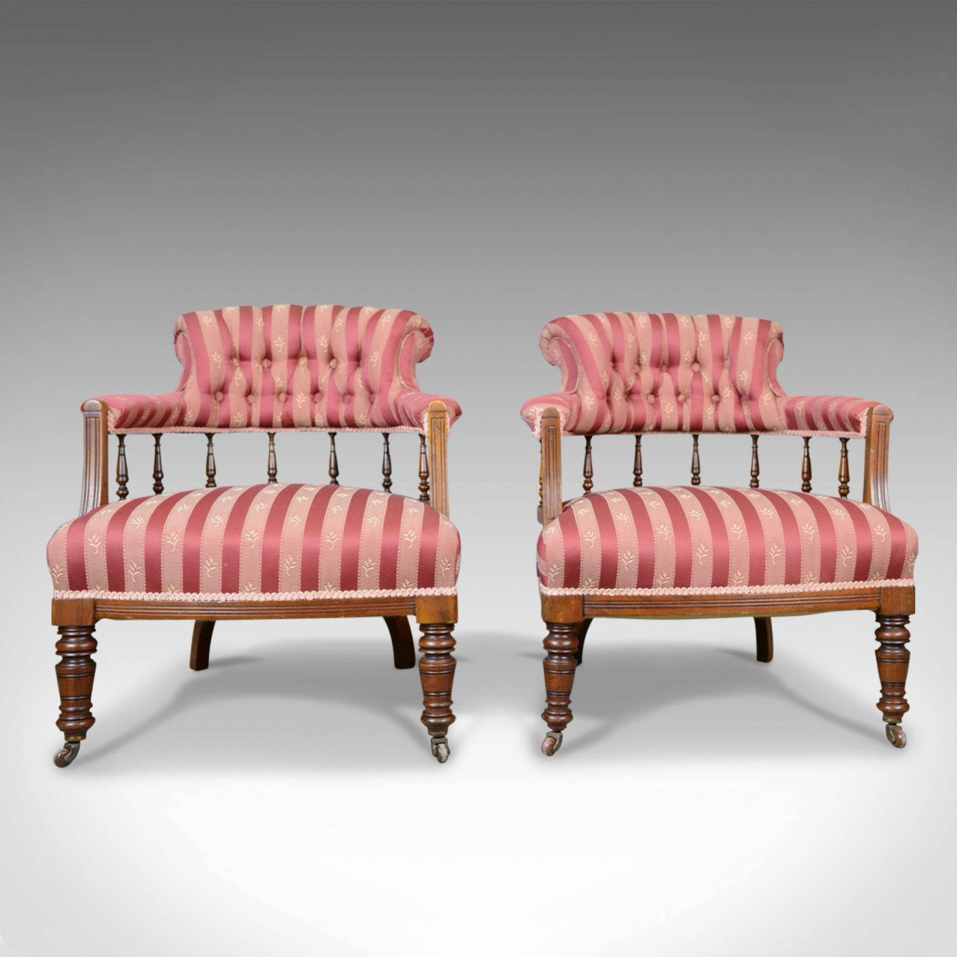 Pair of Antique Salon Chairs, English, Edwardian, Scroll Back Armchairs c.1910