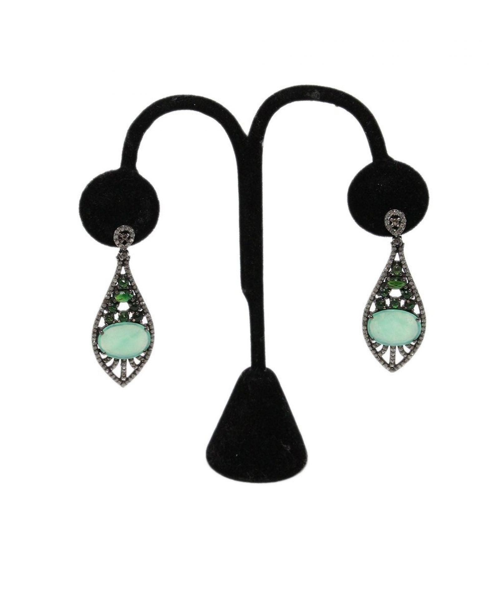 BAVNA STERLING SILVER DIAMOND CHRYSOPRASE EARRINGS