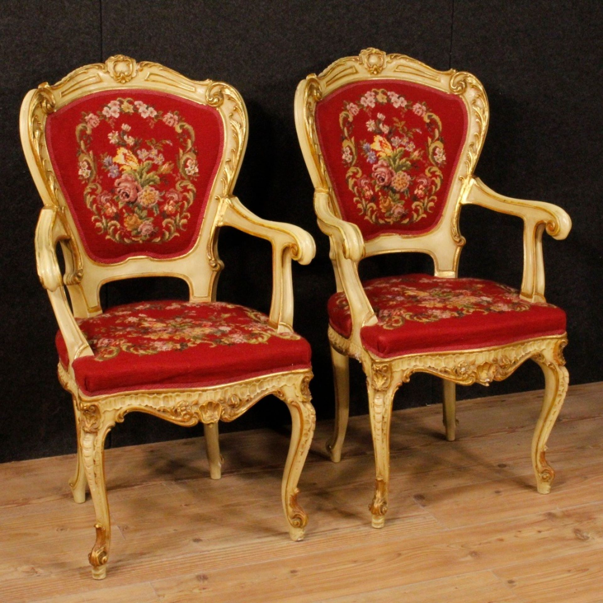 20th Century Lacquered, Gilt Wood, Plaster Red Fabric Venetian Armchairs, 1970