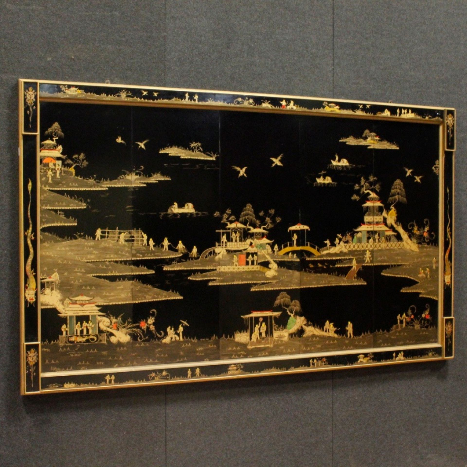 20th Century Black Lacquered and Gilt Chinoiserie Wood French Panel, 1970