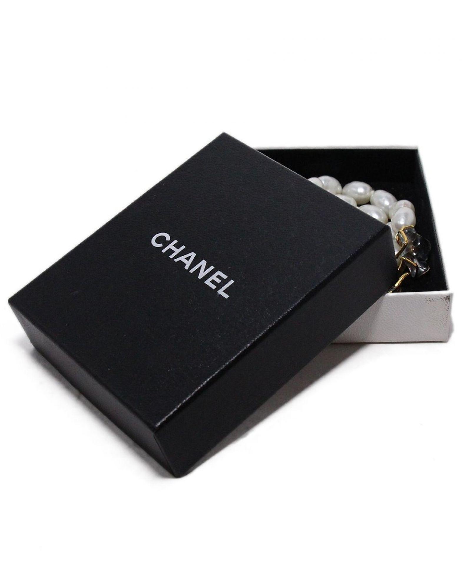 CHANEL WHITE FAUX PEARLS GRIPOIX FLORAL BRACELET