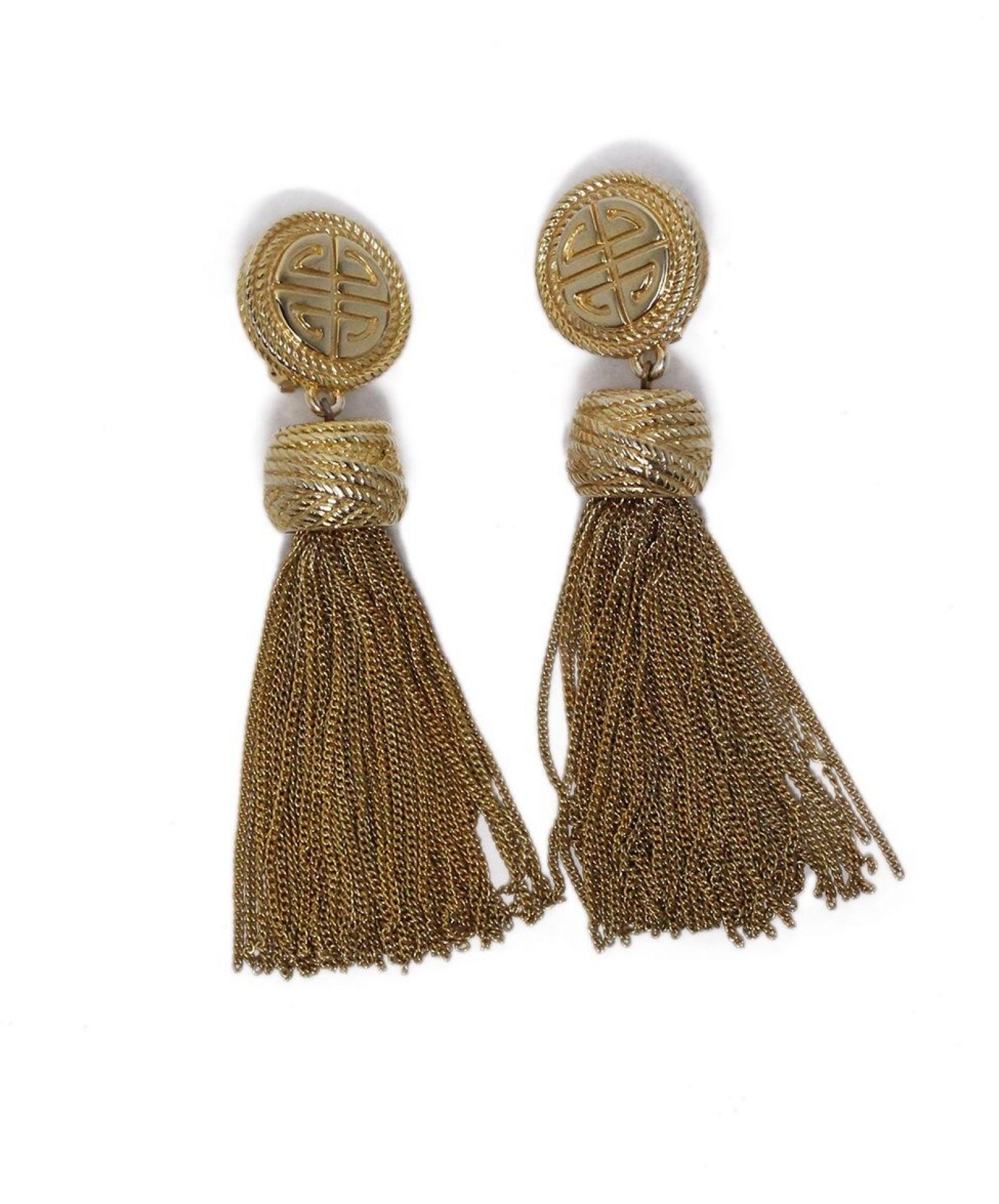 GIVENCHY METALLIC GOLD TASSEL DANGLE CLIP ON EARRINGS