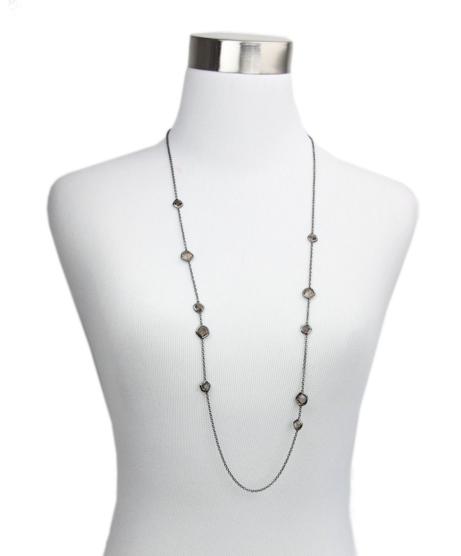 IPPOLITA BLACK STERLING SILVER STONE RHODIUM NECKLACE
