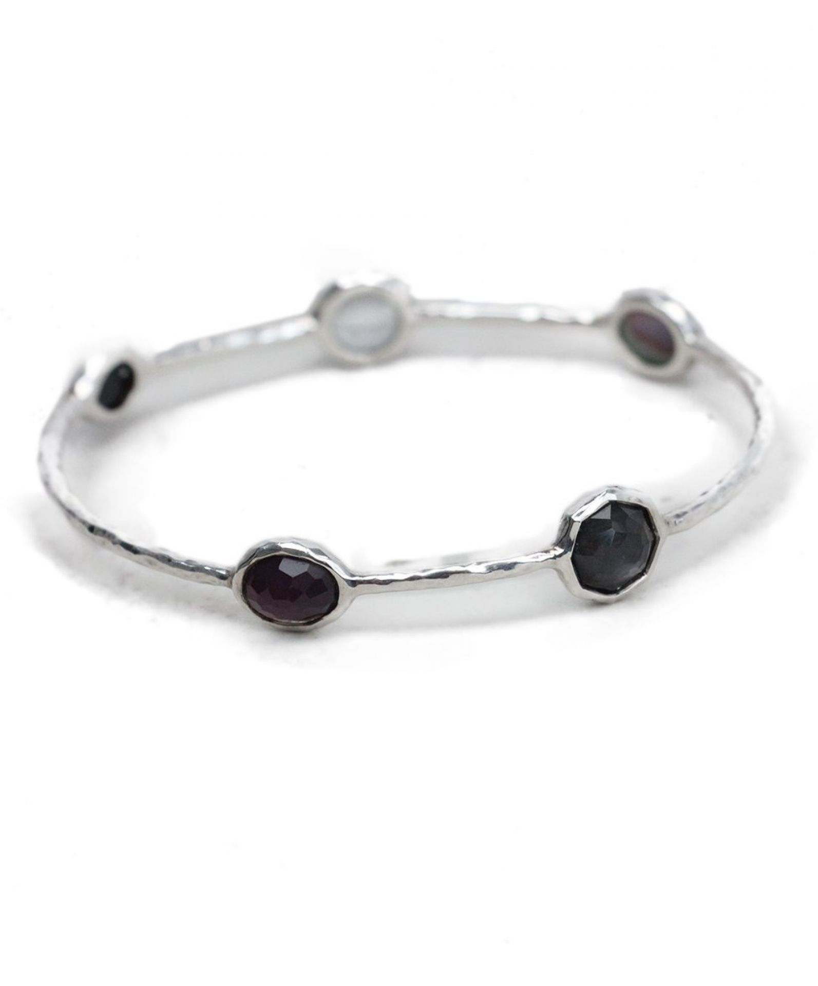 IPPOLITA PURPLE BLACK GREY STONE STERLING SILVER BANGLE BRACELET