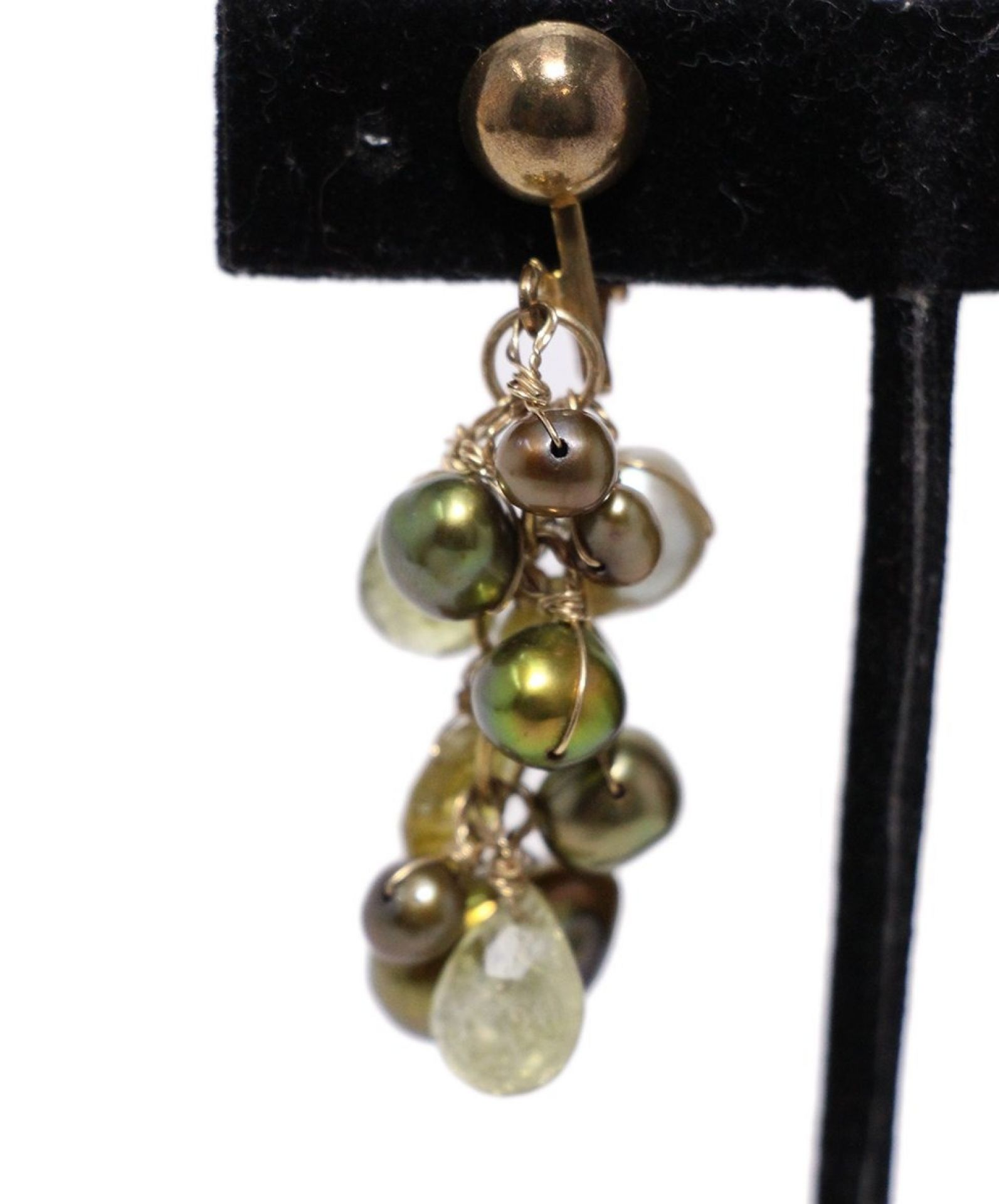 JADED GREEN PEARL STONE WITH CLIP-ON EARRINGS NECKLACE SET