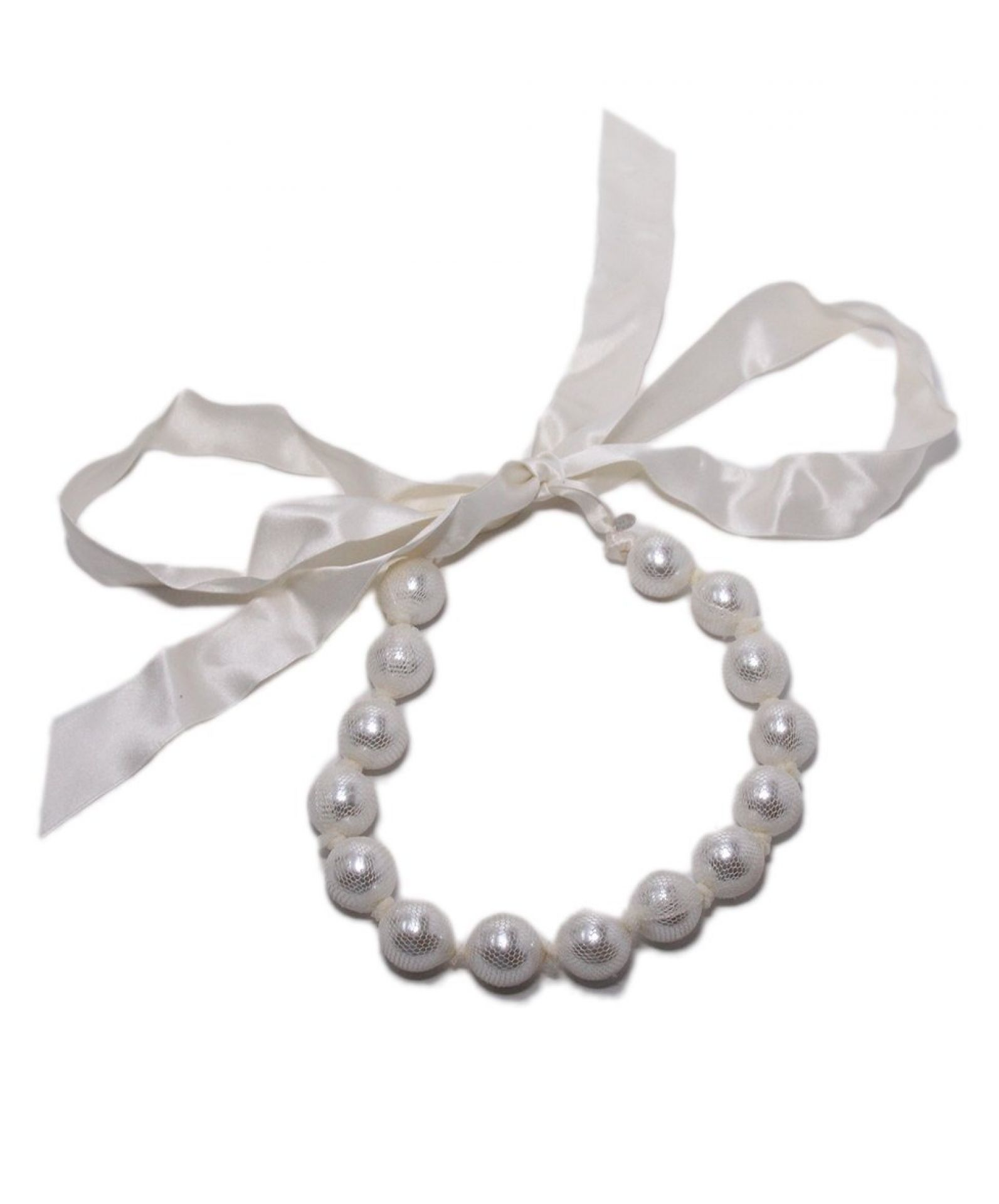 LANVIN NEUTRAL WHITE BEADED SILVER RIBBON NECKLACE