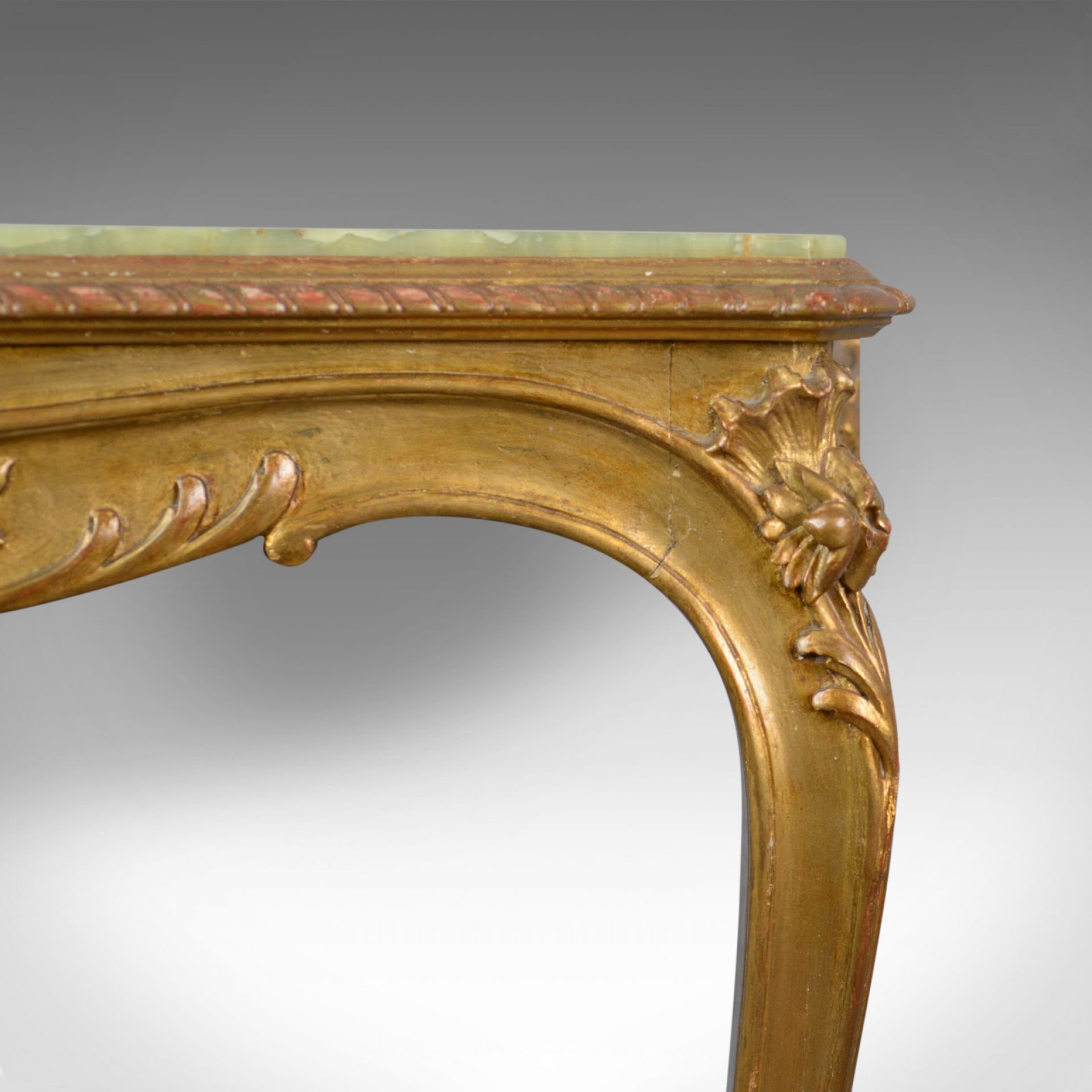 French Antique Console Table, Giltwood and Onyx, Classical Revival, Circa 1900