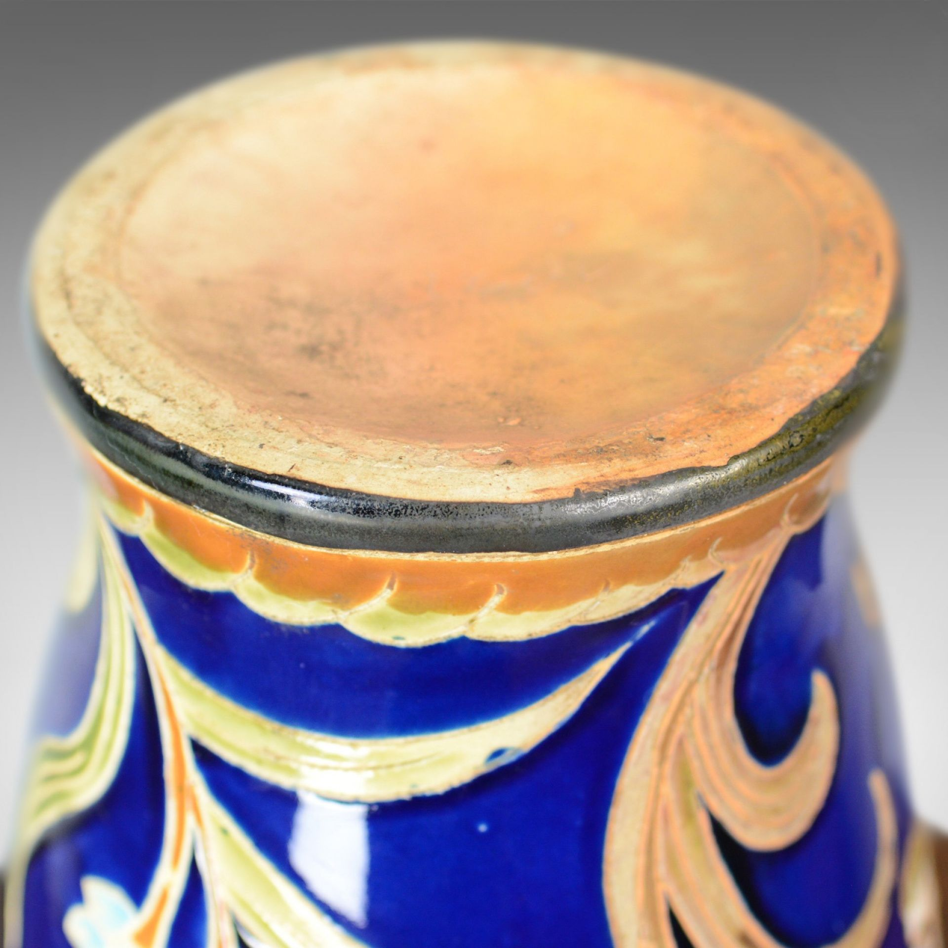 Large Baluster Vase, Floral, Ceramic, Royal Blue Ground, Late 20th Century