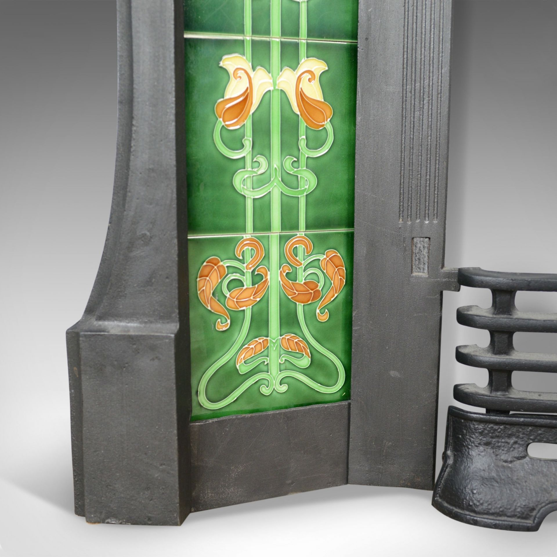 Vintage Cast Iron Fire Surround, Art Nouveau Taste, Late 20th Century