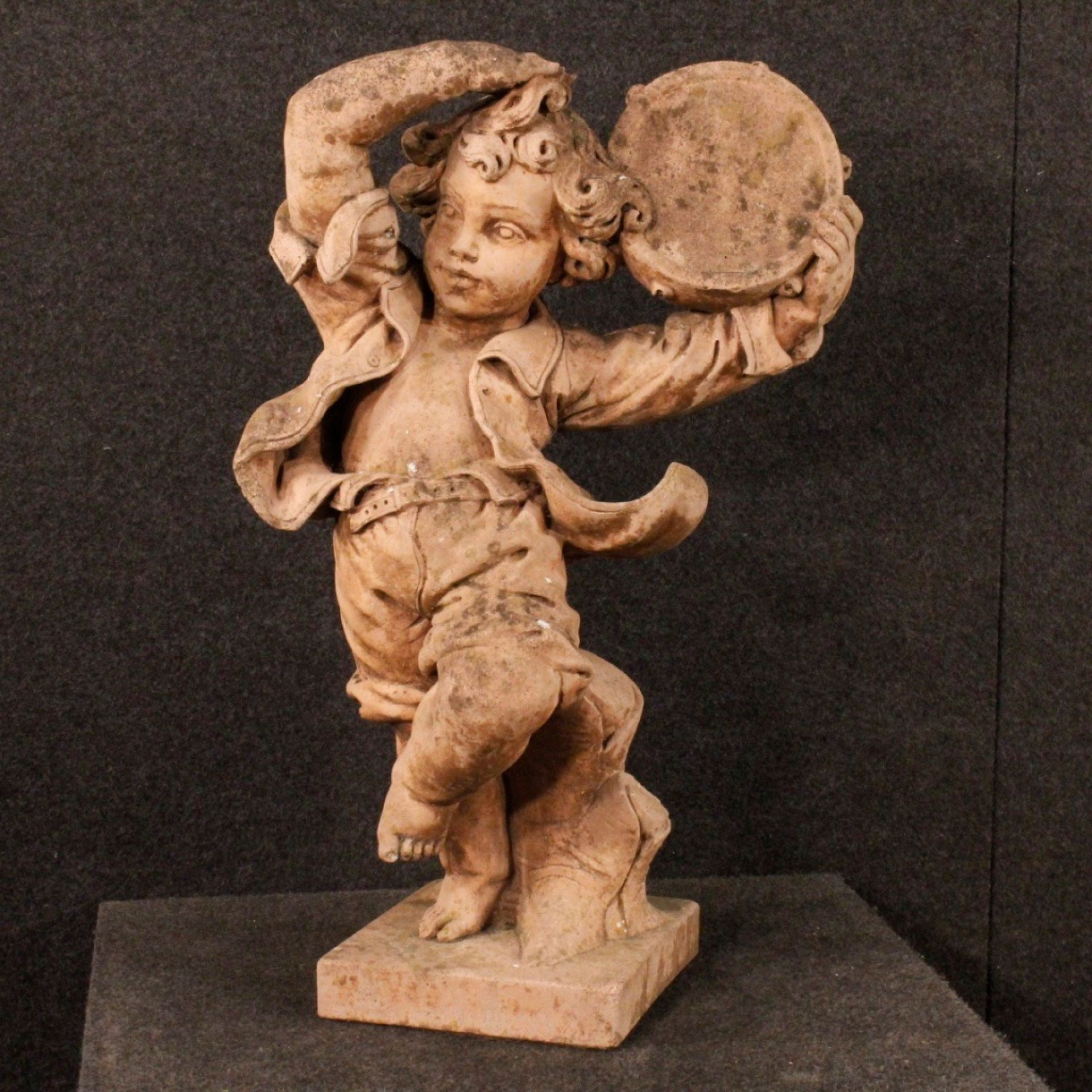 20th Century Cement French Dancing Child With Tambourine Sculpture, 1980