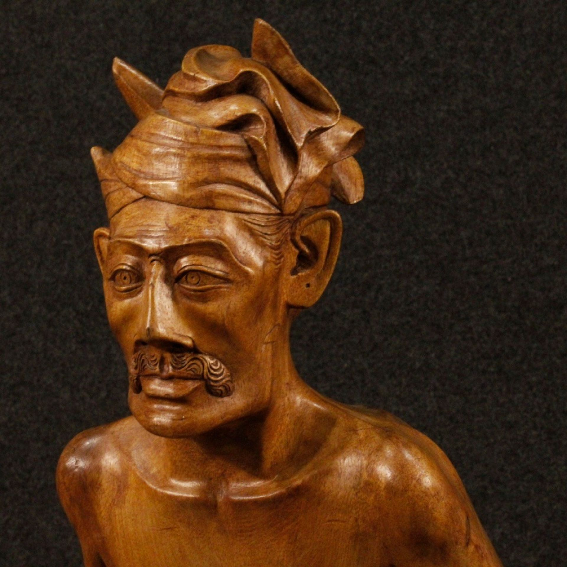 20th Century Exotic Wood Indian Old Man With Stick And Turban Sculpture, 1970