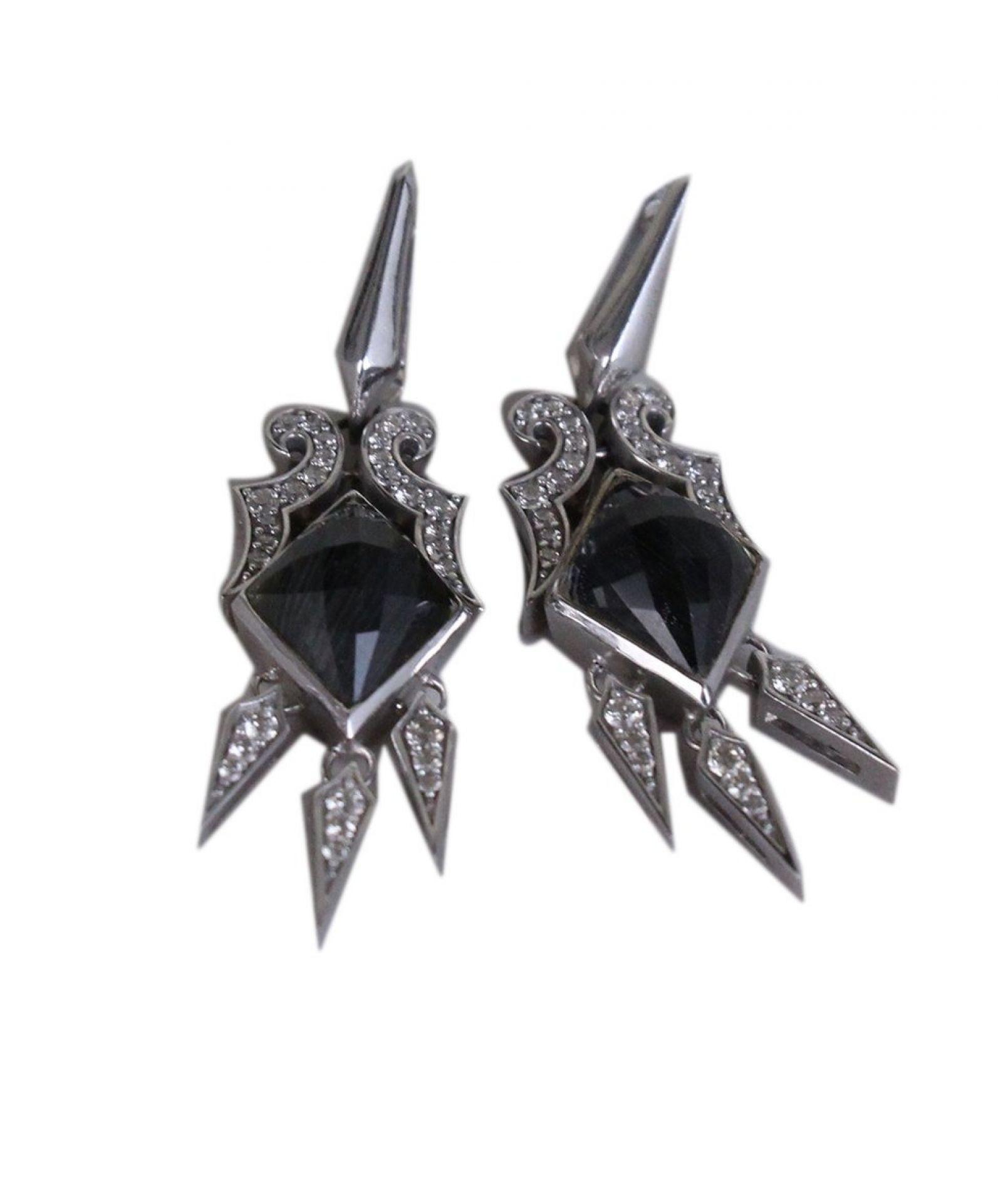 STEPHEN WEBSTER STERLING SILVER DIAMOND BLACK STONE EARRINGS