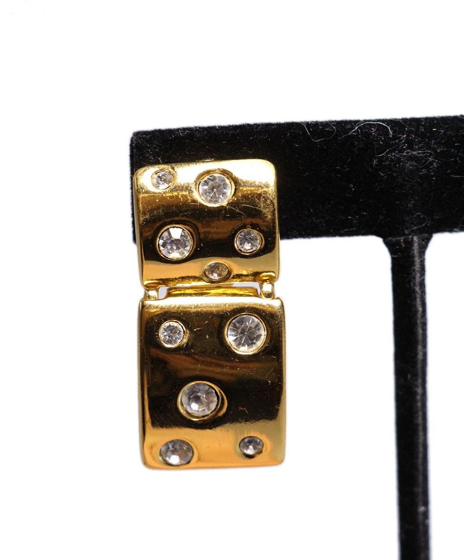 YSL METALLIC GOLD RHINESTONE CLIP-ON EARRINGS