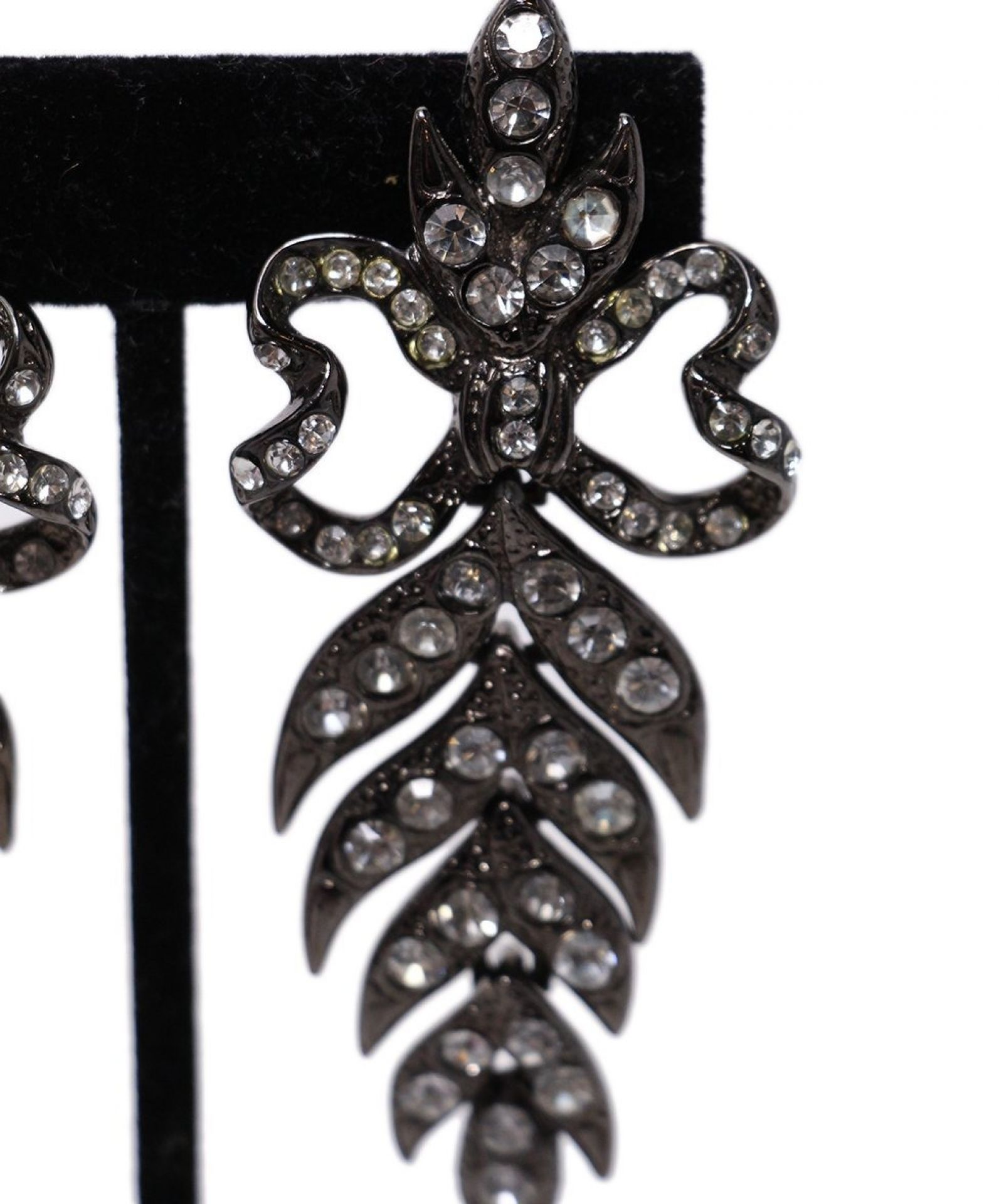 YSL OXIDIZED METALLIC GUNMETAL RHINESTONE CLIP-ON EARRINGS
