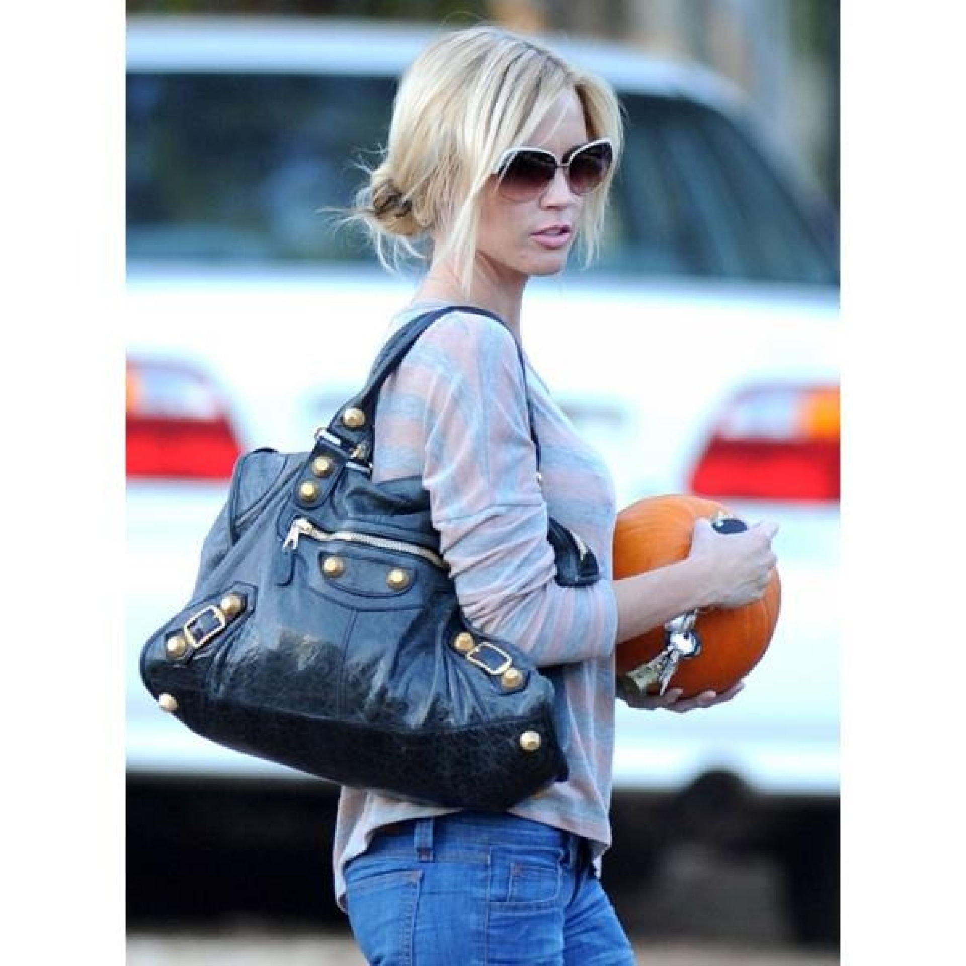 Balenciaga Blue Agneau Leather Giant 21 City Shoulder Bag
