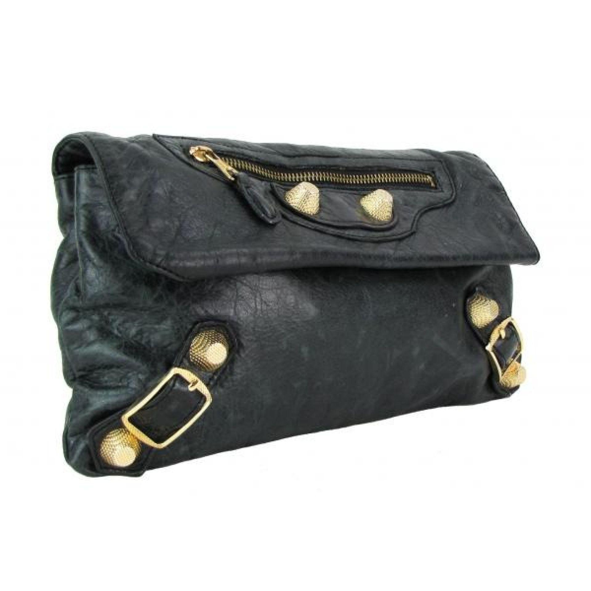 Balenciaga Dark Green Leather Giant 21 Envelope Clutch Bag