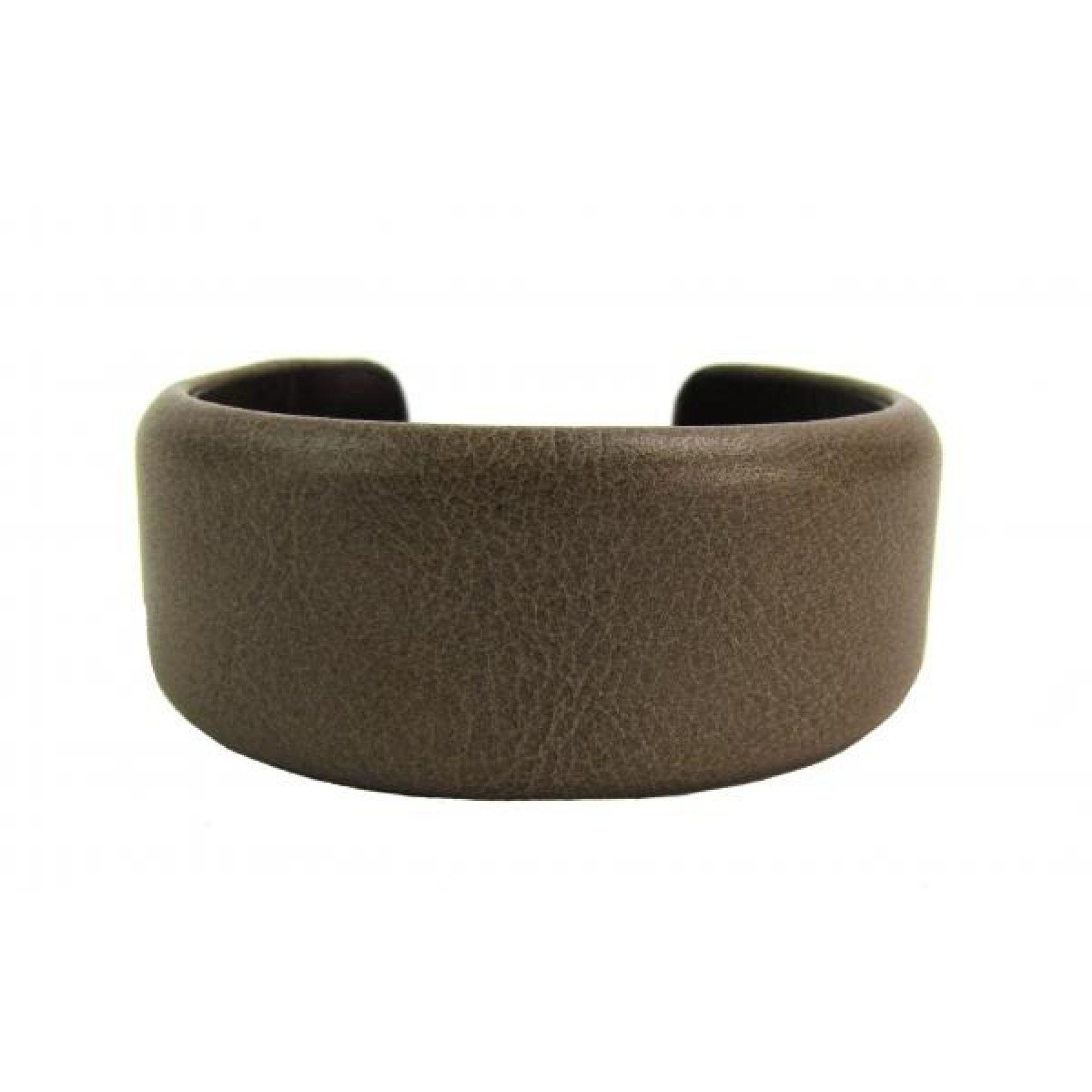 Brunello Cucinelli Beige Leather Cuff Bracelet
