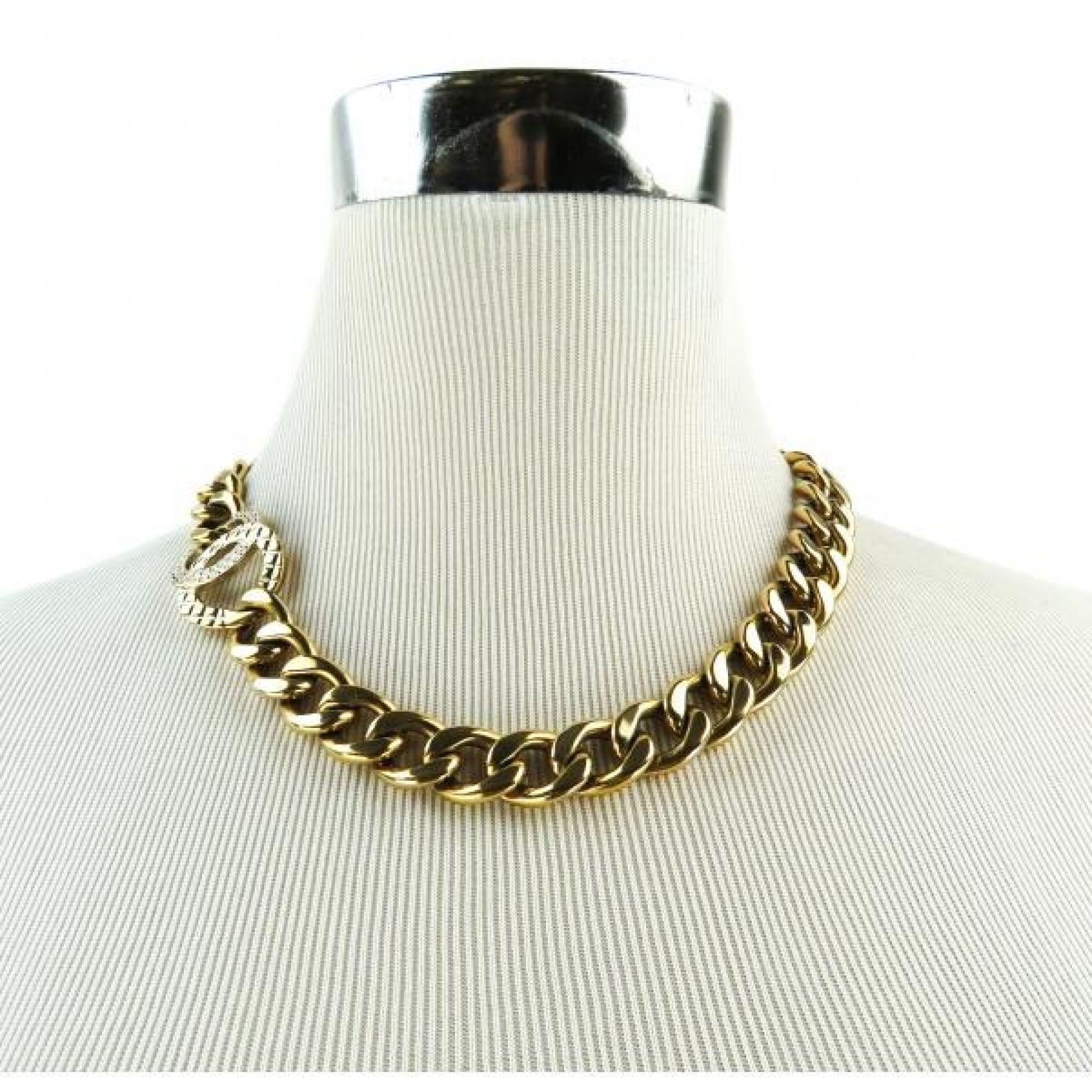 Chanel Gold-tone Chain Crystal CC Logo Necklace
