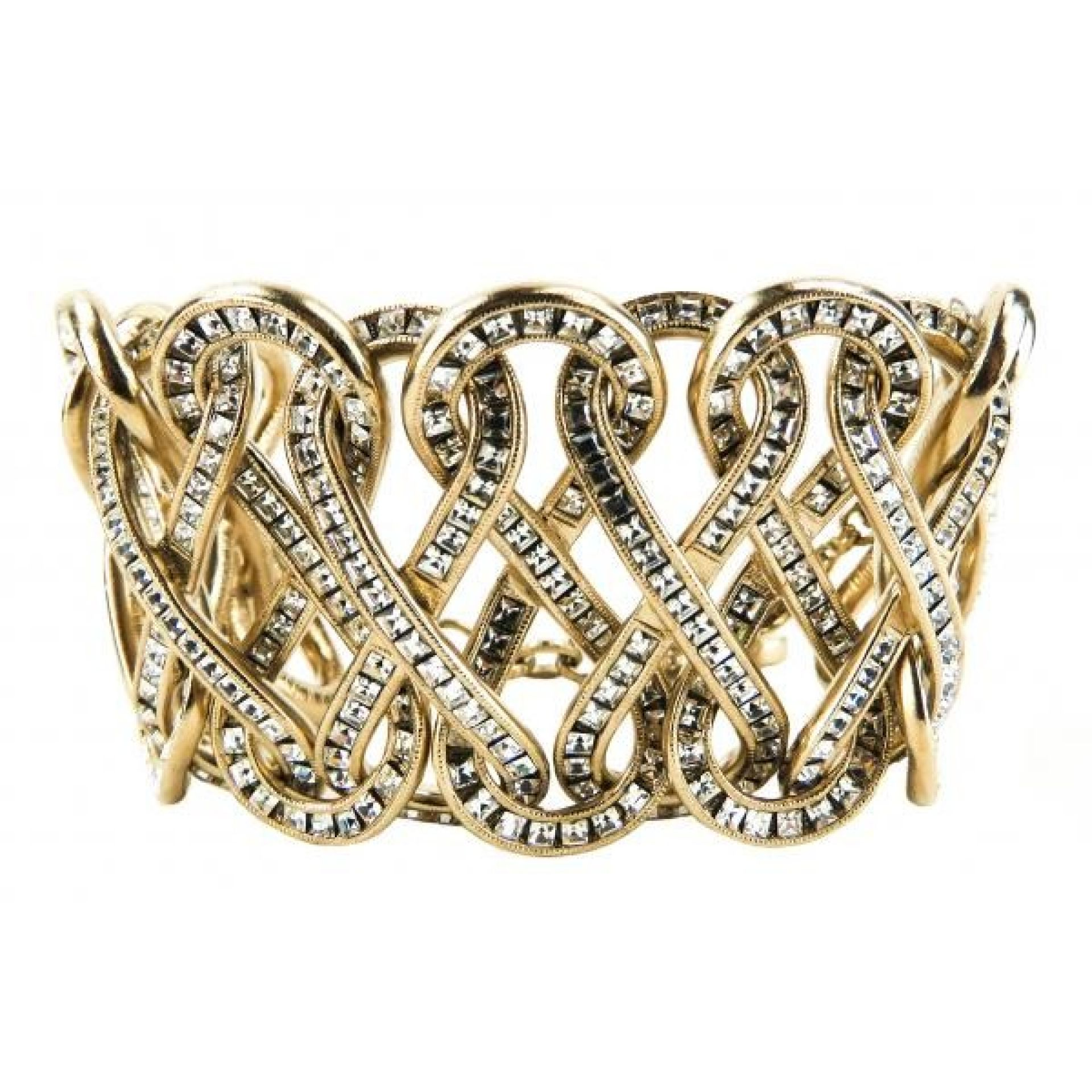Chanel Gold-tone Crystal Braided Cuff Bracelet