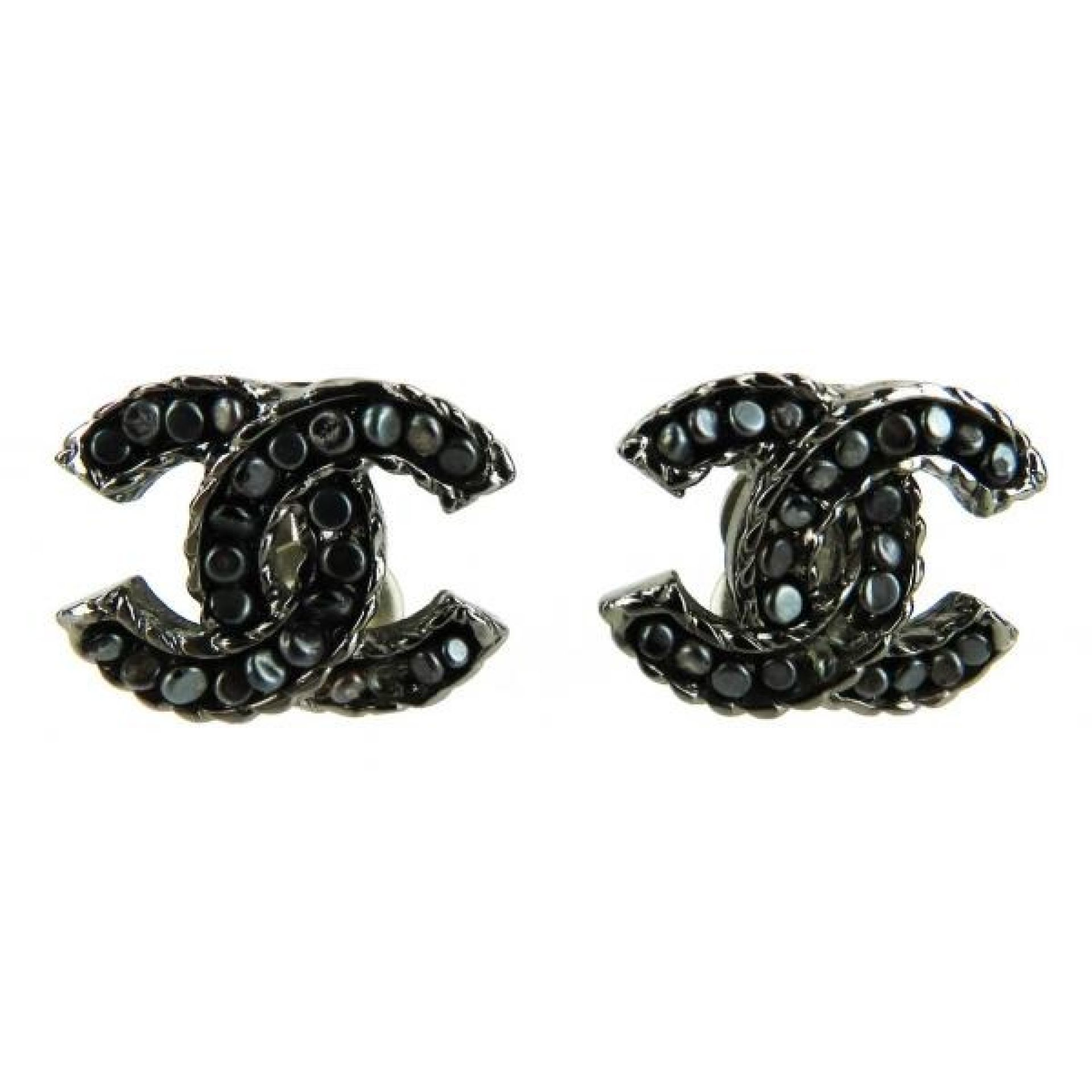 Chanel Grey CC Beaded Clip On Earrings