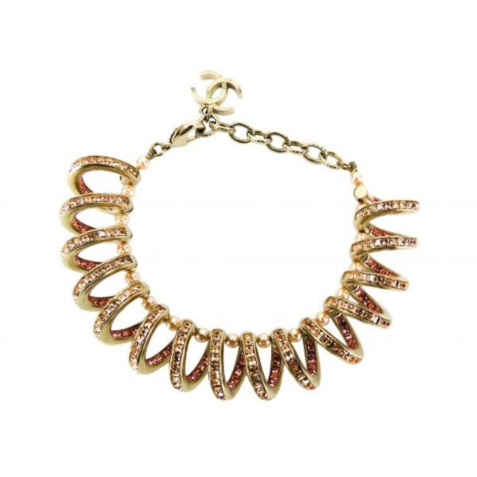 Chanel Pink Crystal Gold-tone CC Spiral Bracelet