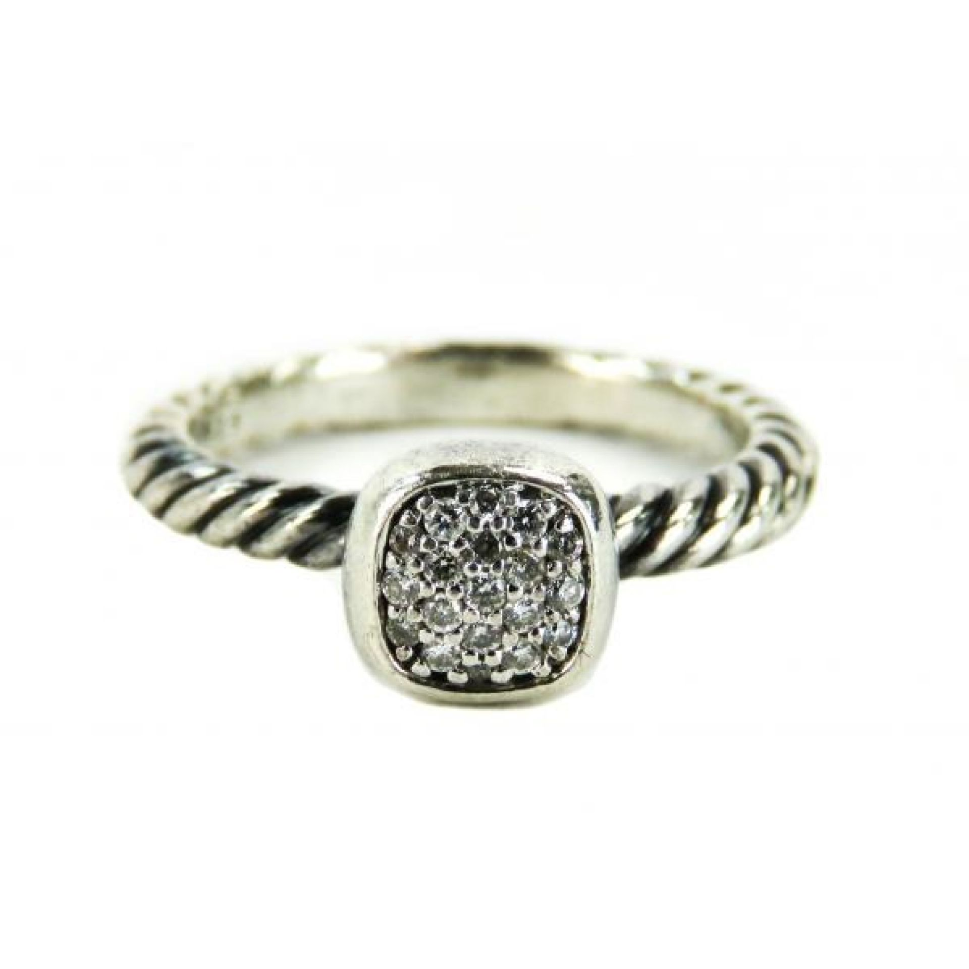 David Yurman Sterling Silver Diamond Cable Ring
