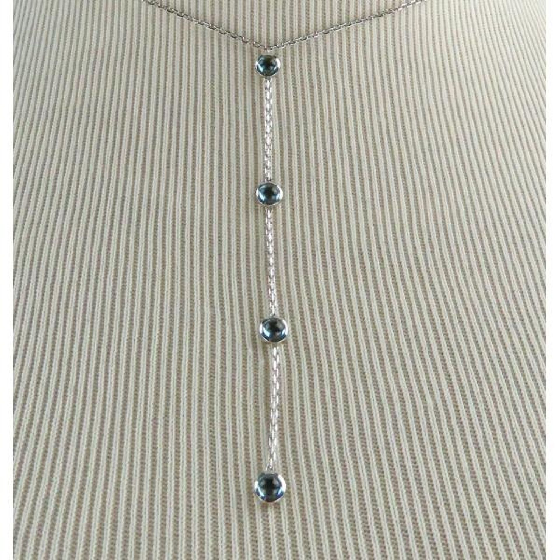 Gucci 18K White Gold Blue Topaz Lariat Necklace