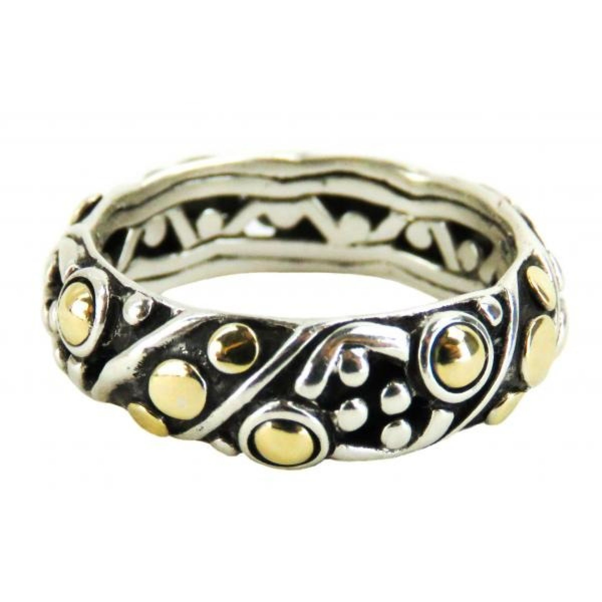 John Hardy 18k Gold Sterling Silver Dot Twist Band Ring