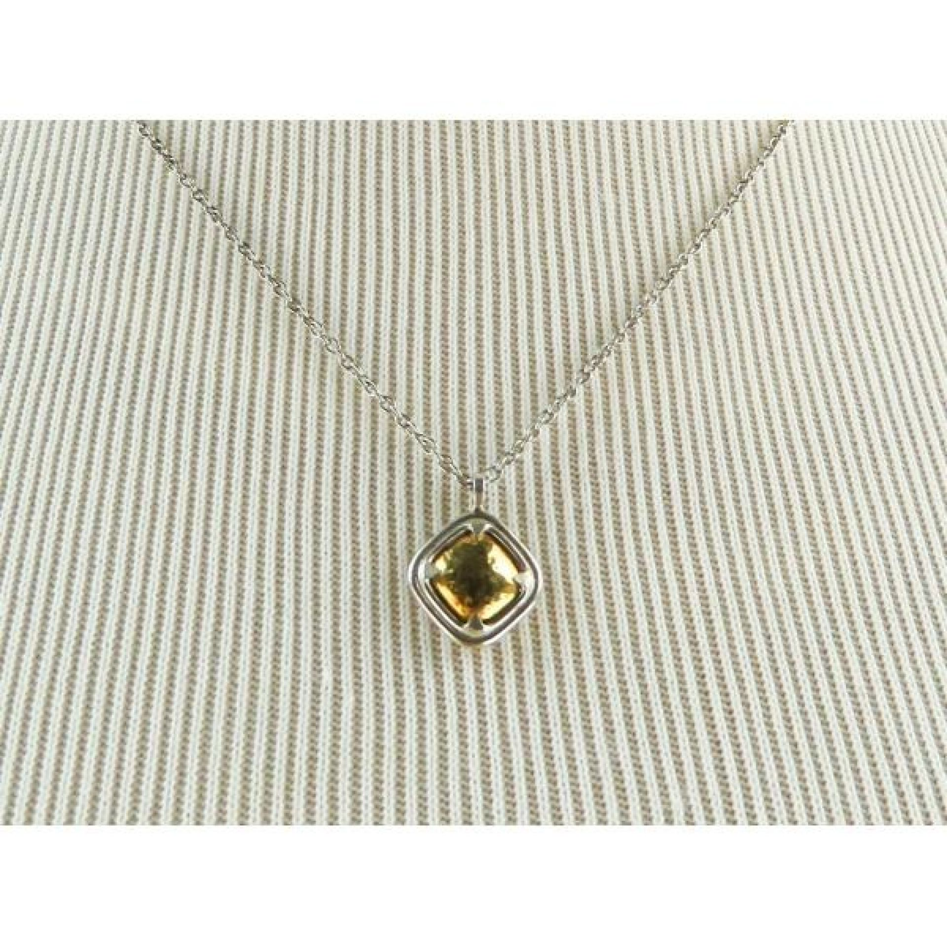 John Hardy 18K Gold Sterling Silver Hammered Square Pendant Necklace