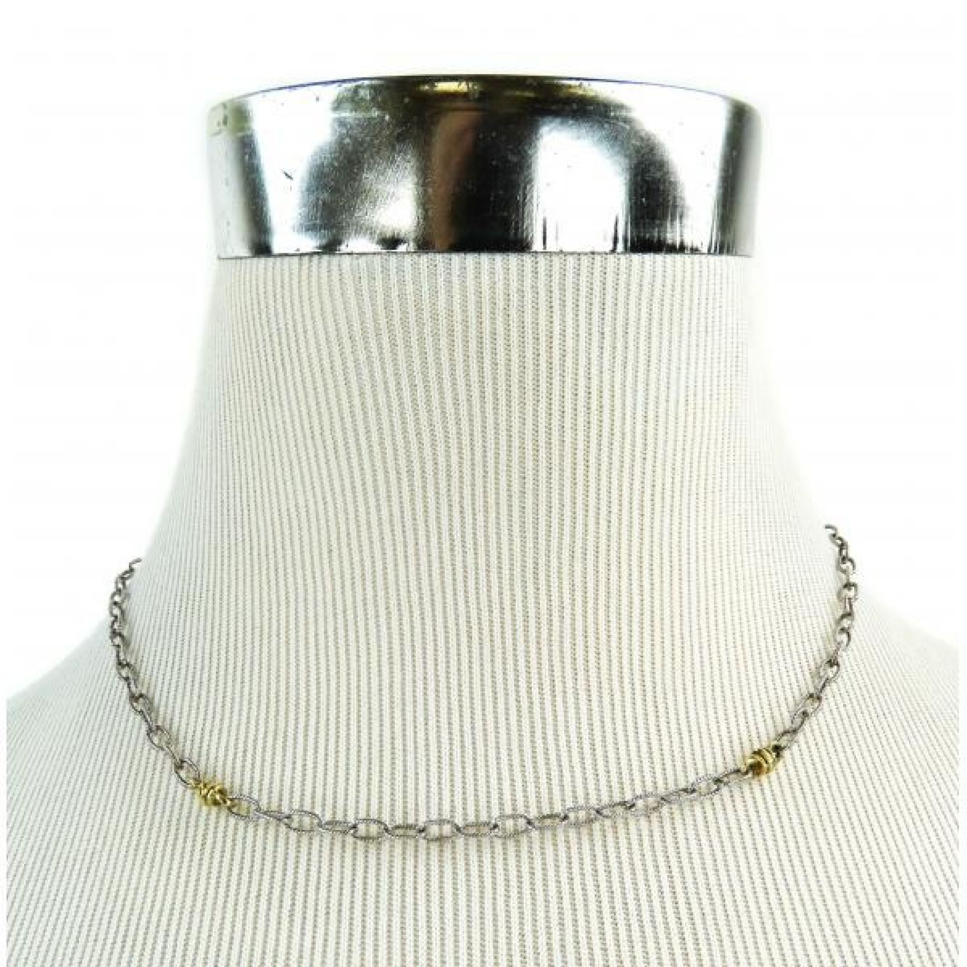 Judith Ripka Sterling Silver 18K Gold Two-tone Station Chain Link Necklace