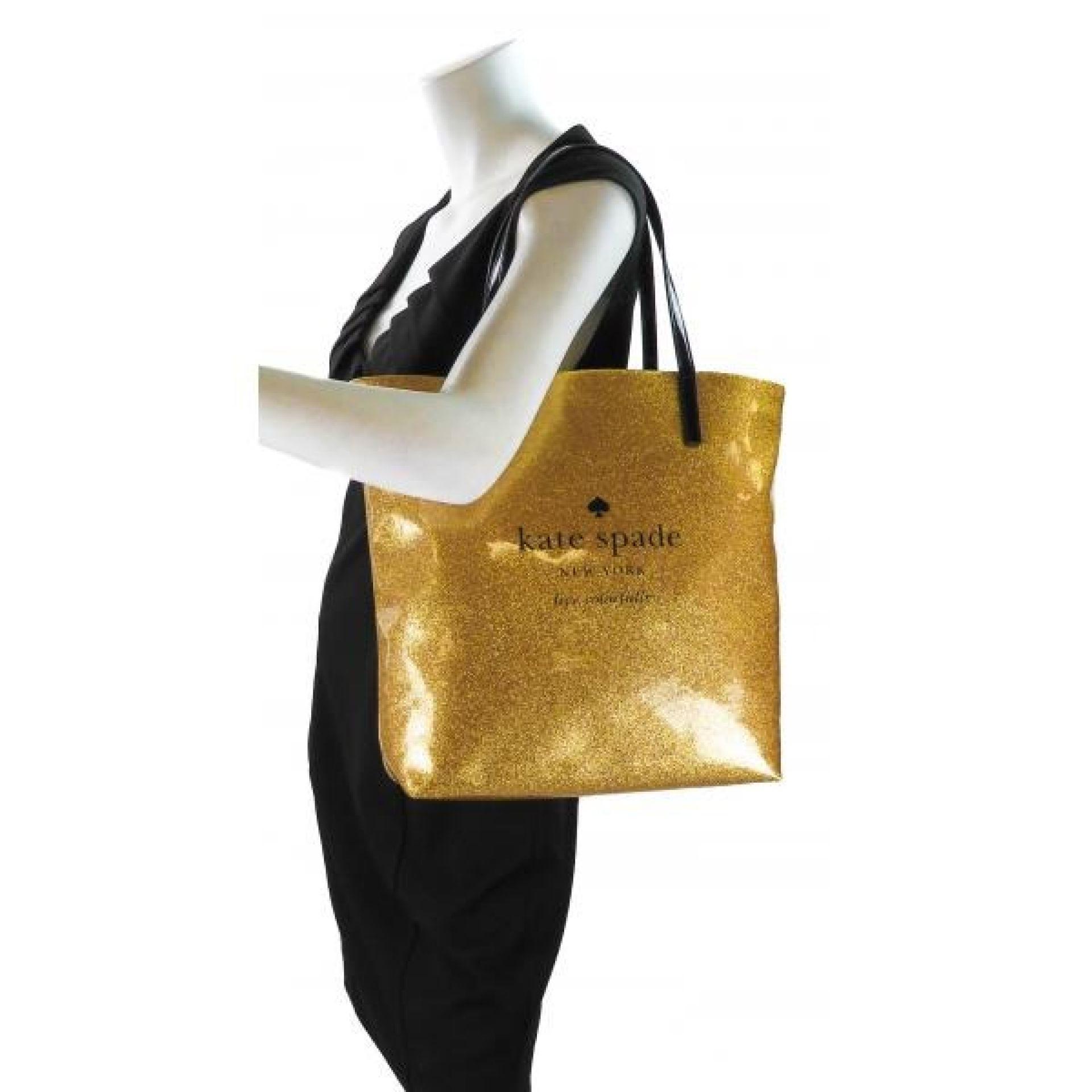 Kate Spade Gold Glitter PVC Holiday Drive Bon Shopper Tote Bag