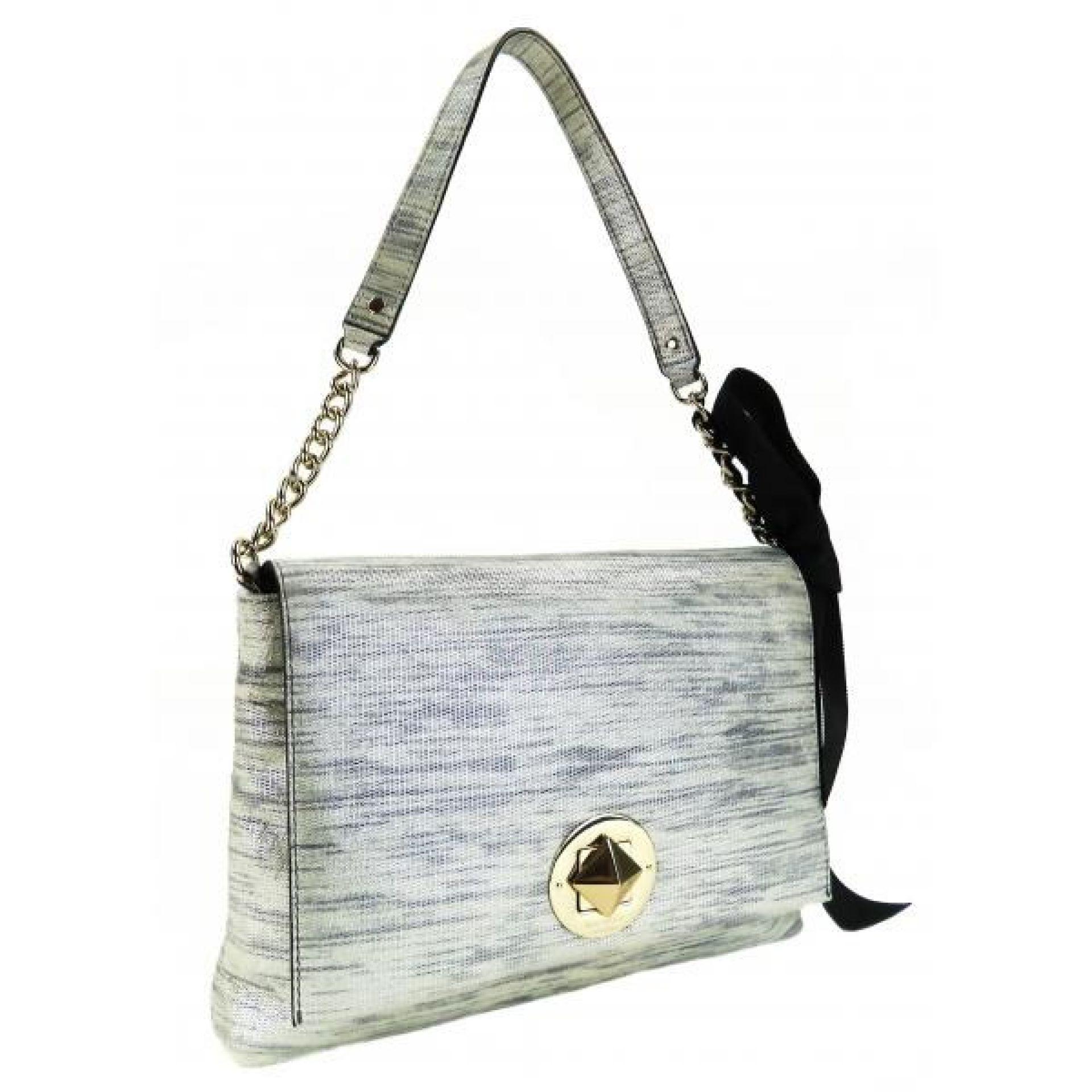 Kate Spade Grey Metallic Microsuede Varick Street Abbie Shoulder Bag