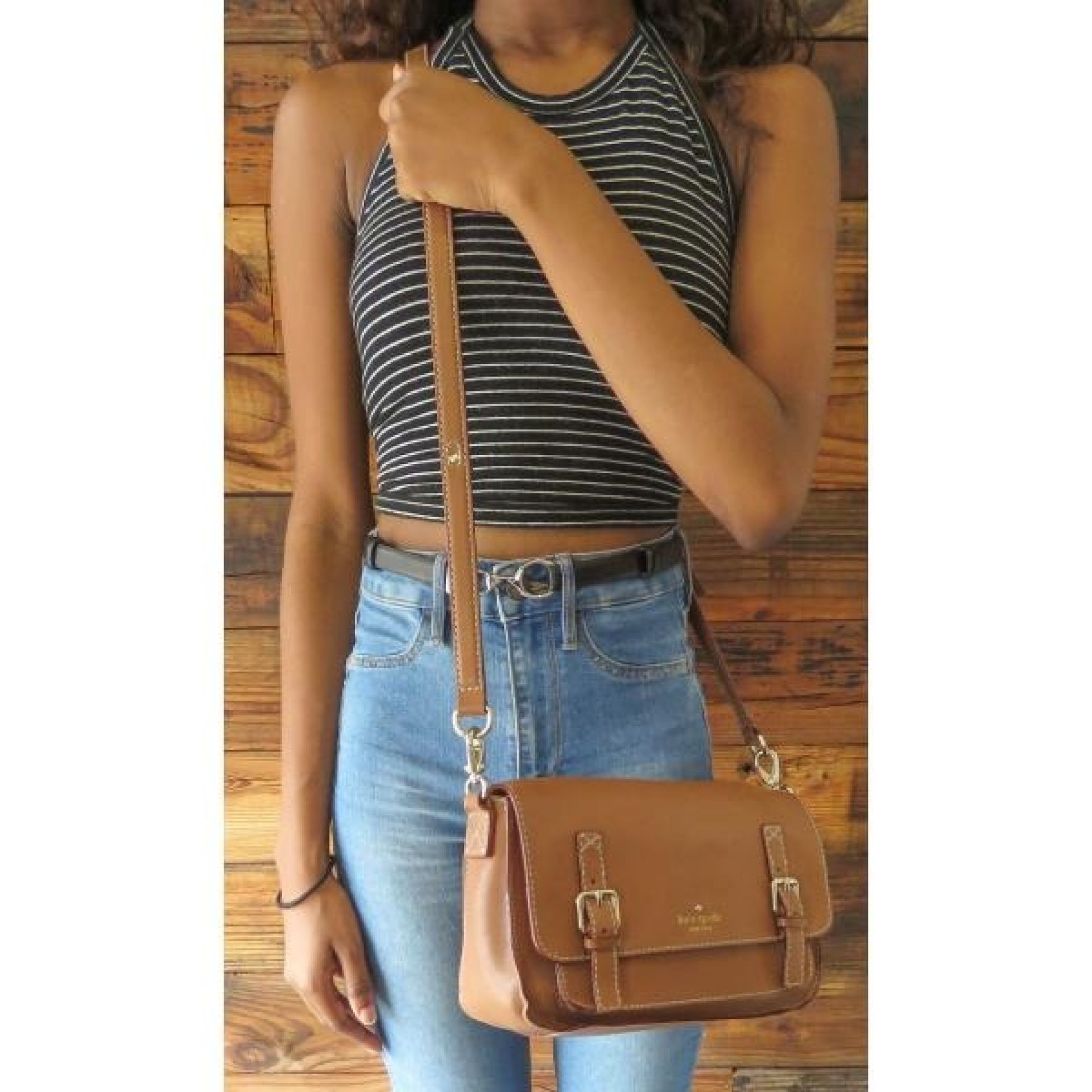 Kate Spade Tan Leather Essex Scout Messenger Crossbody Bag