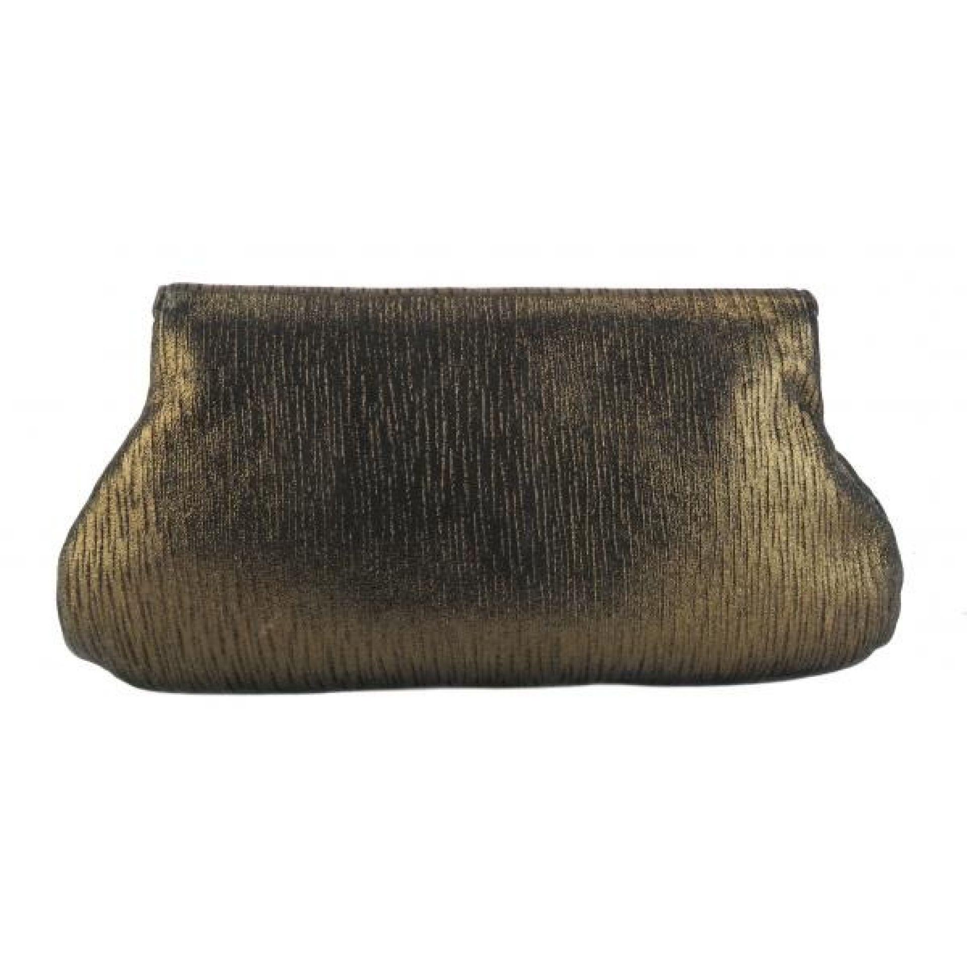 Lauren Merkin Bronze Metallic Leather Pleated Lotte Clutch