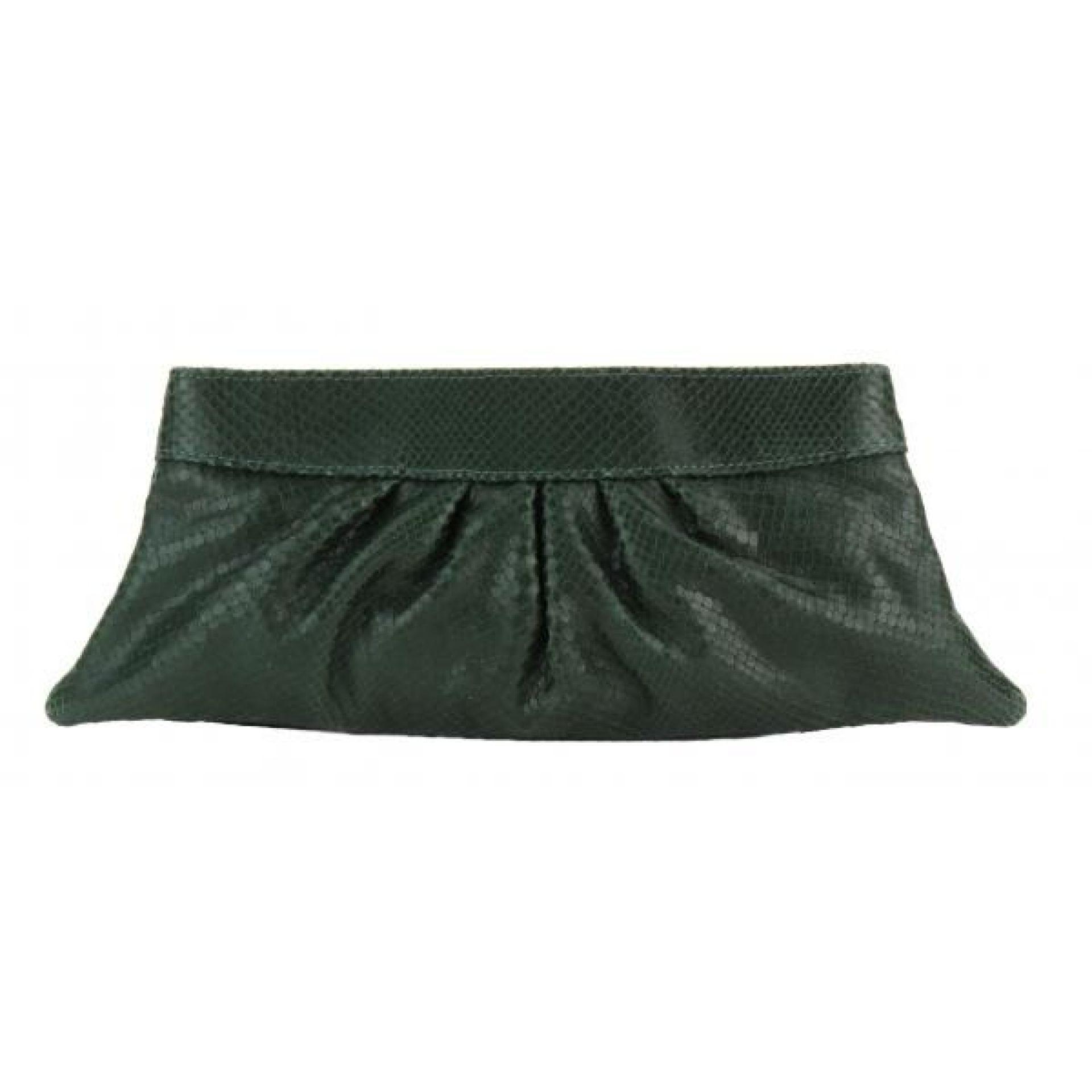 Lauren Merkin Green Snake Embossed Louise Pleated Clutch Bag