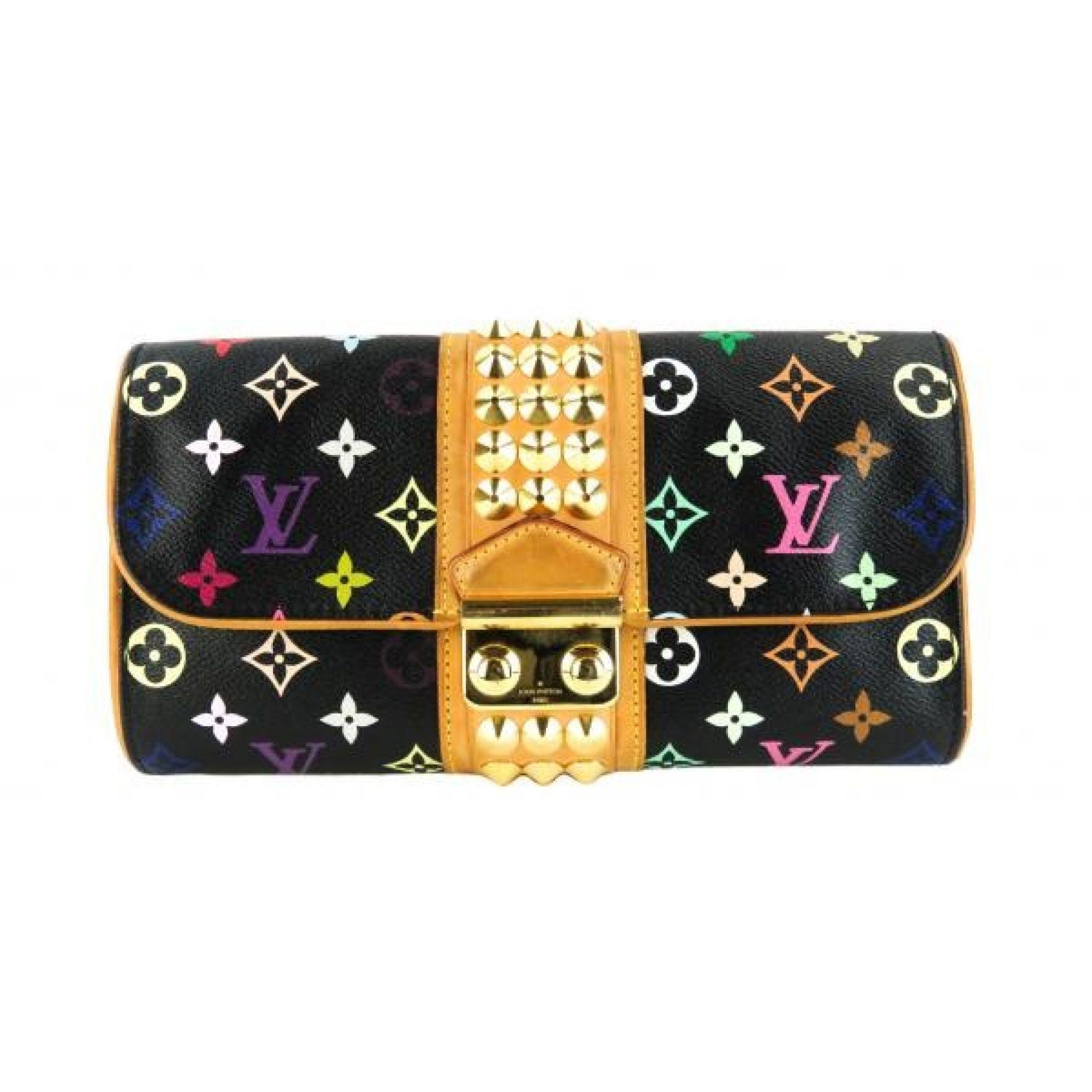 Louis Vuitton Black Multicolore Monogram Canvas Studded Courtney Clutch