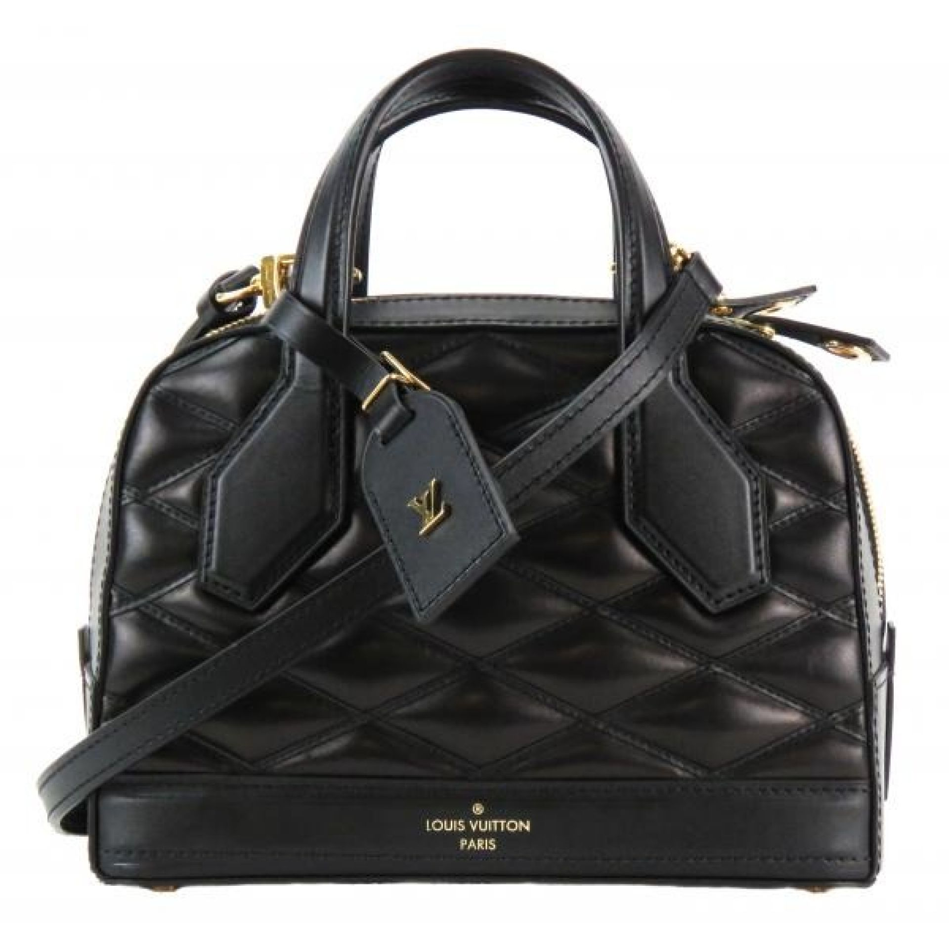 Louis Vuitton Black Quilted Leather Dora Malletage BB Satchel Bag