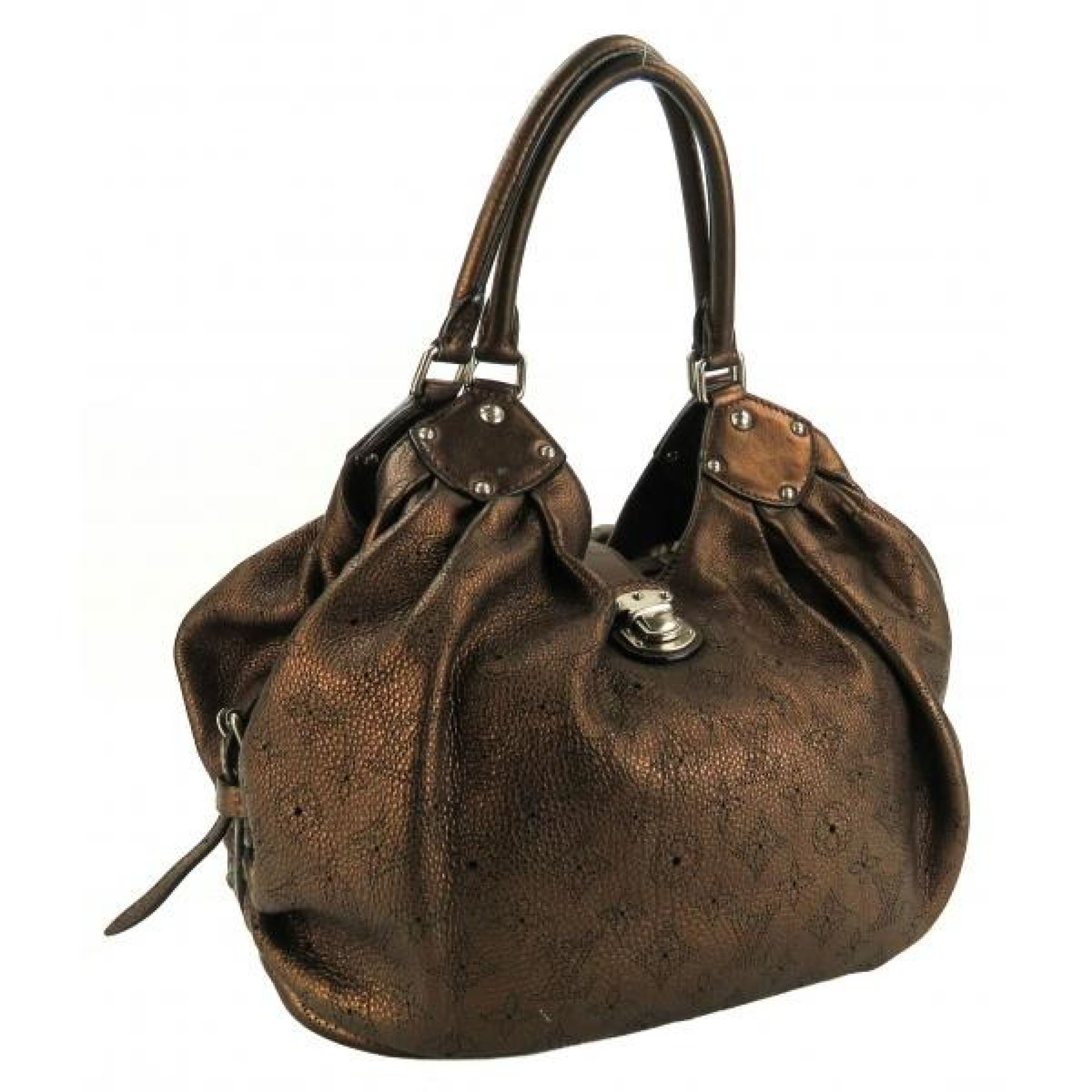 Louis Vuitton Bronze Metallic Perforated Mahina Leather L Shoulder Bag