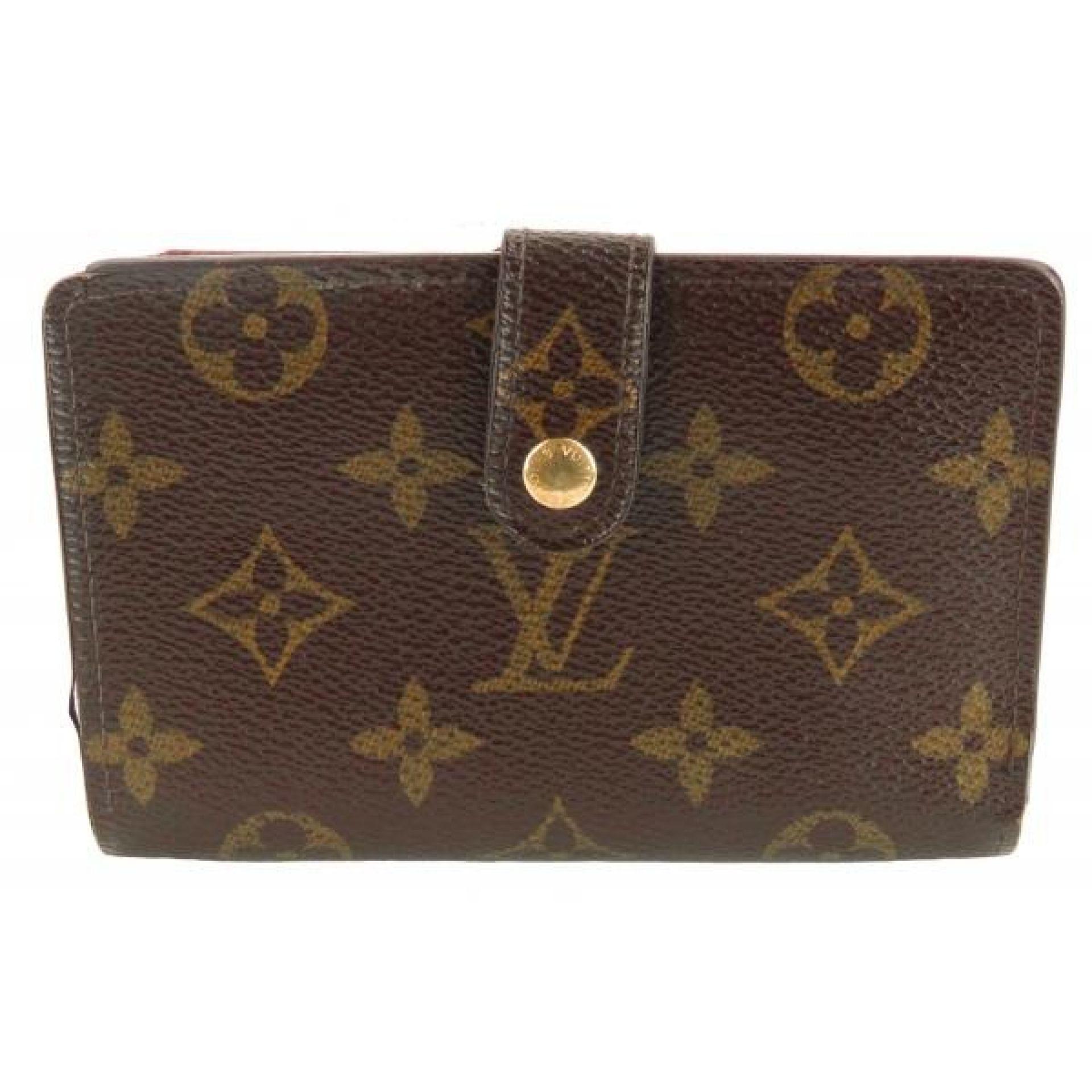 Louis Vuitton Brown Monogram Canvas Kisslock Bifold Compact Wallet