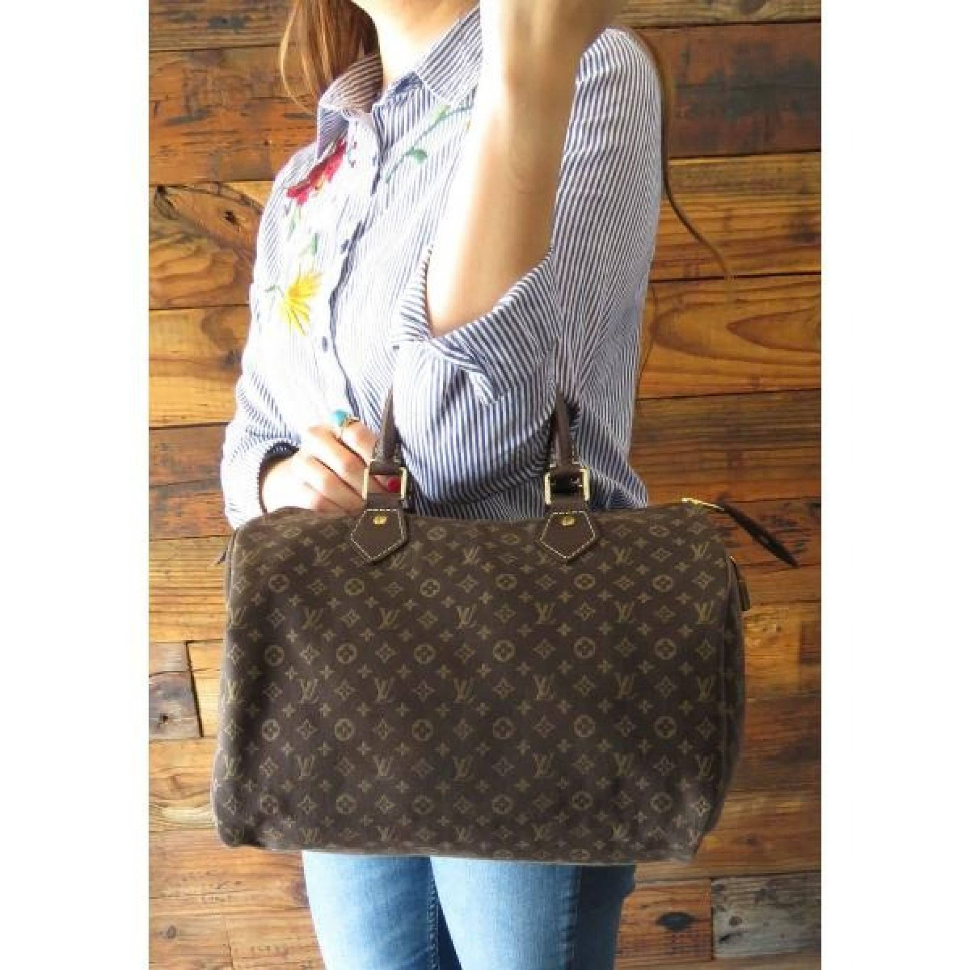 Louis Vuitton Brown Monogram Idylle Canvas Mini Lin Speedy 30 Satchel Bag